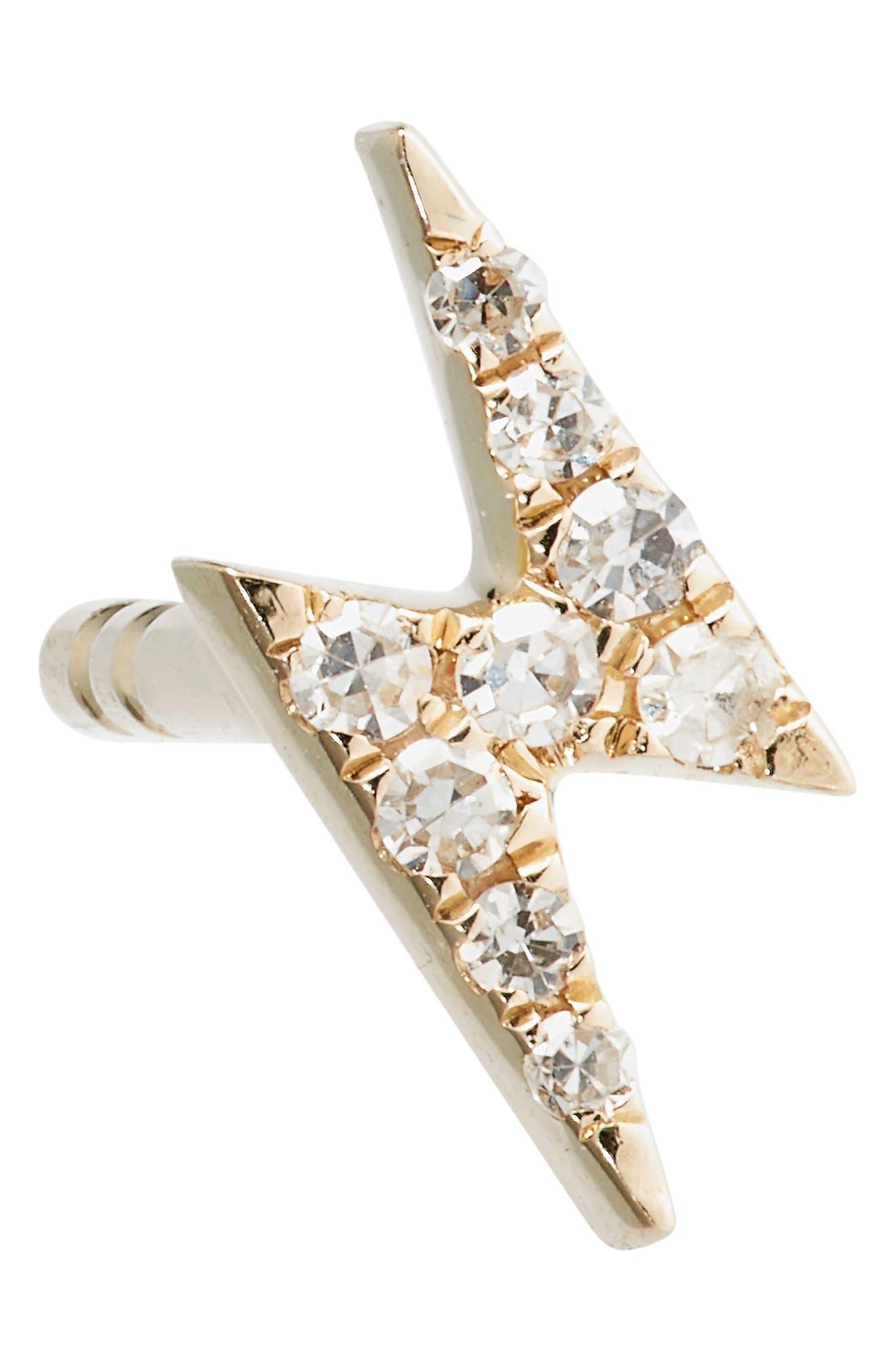 Diamond Stud Earrings,                             Alternate thumbnail 5, color,                             Yellow Gold