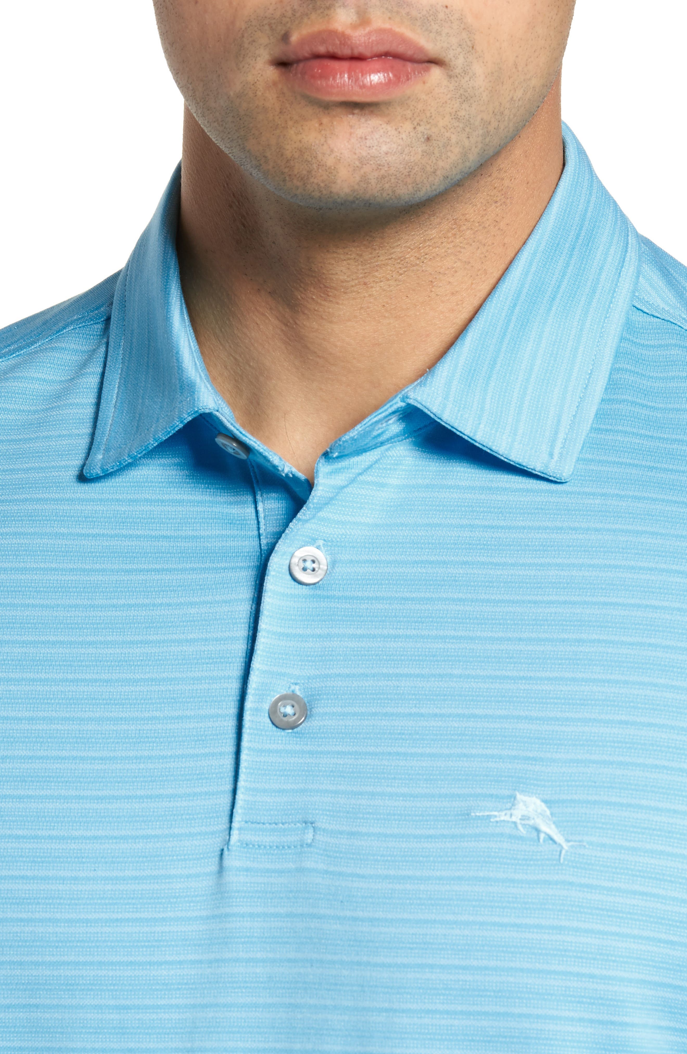 New On Par Stripe Polo,                             Alternate thumbnail 4, color,                             Breeze Blue