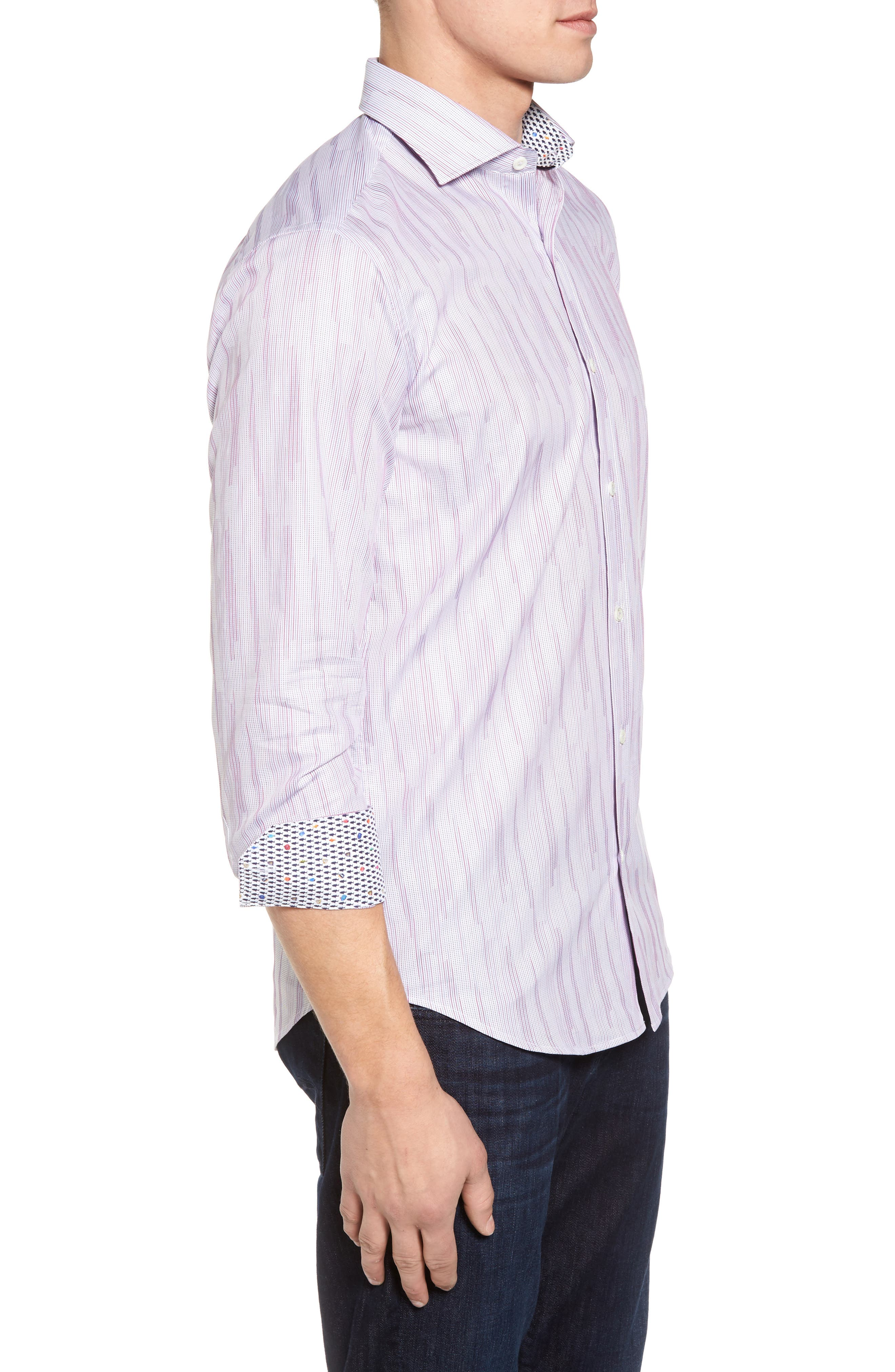 Classic Fit Print Sport Shirt,                             Alternate thumbnail 3, color,                             Berry