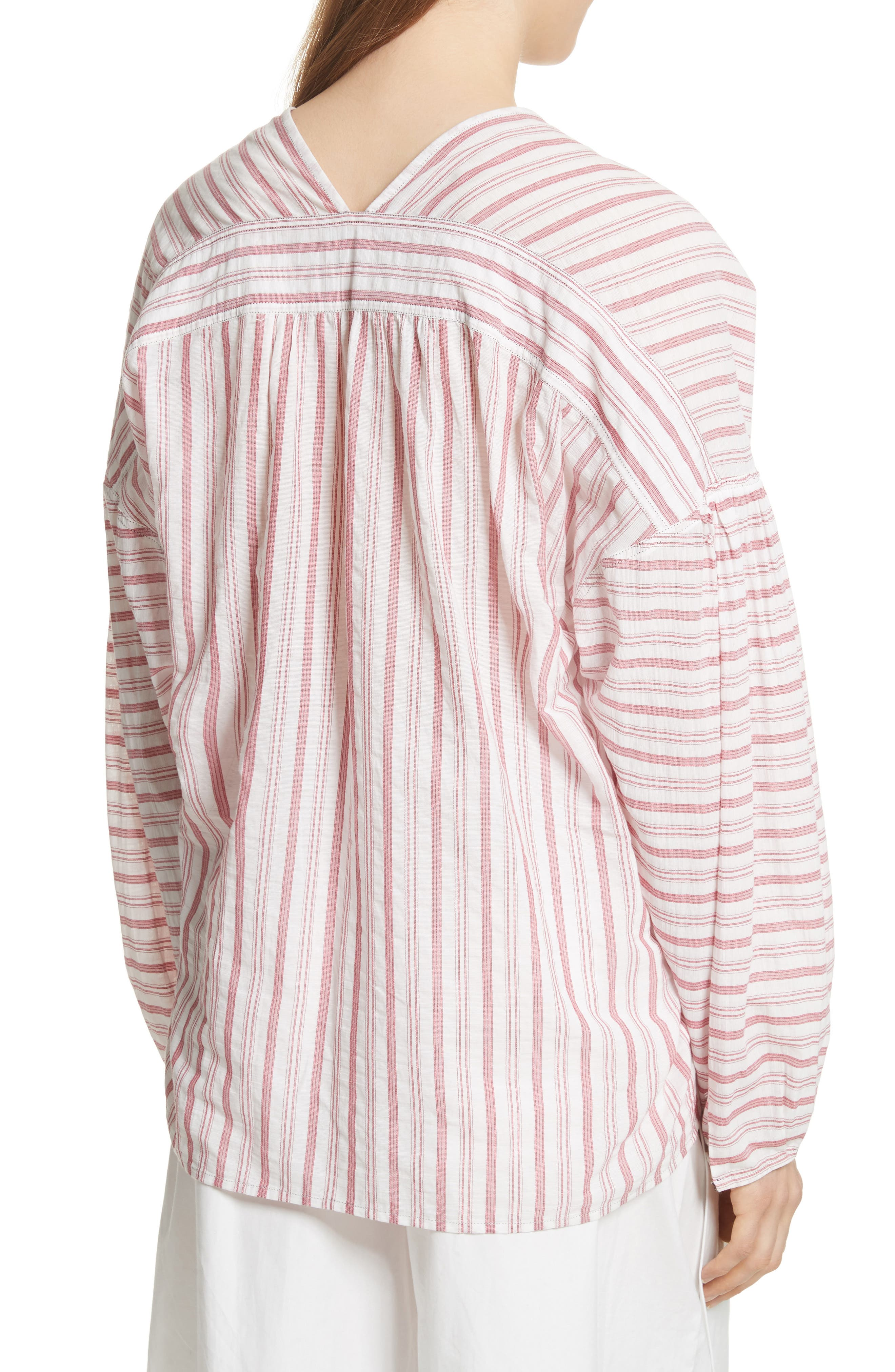 Stripe Cotton Top,                             Alternate thumbnail 2, color,                             Off White/ Poppy