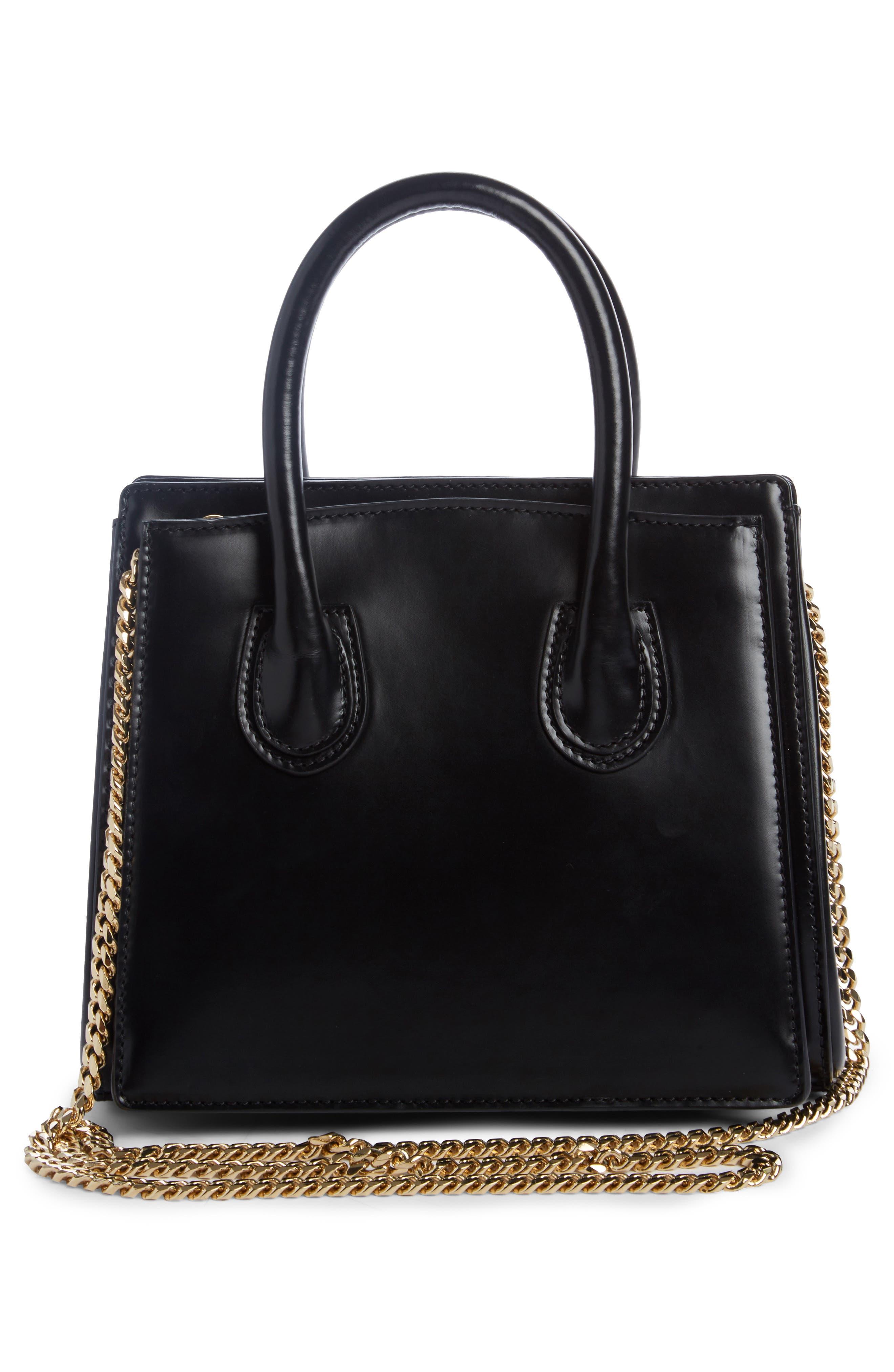 Mini Glace Leather Top Handle Bag,                             Alternate thumbnail 2, color,                             Noir