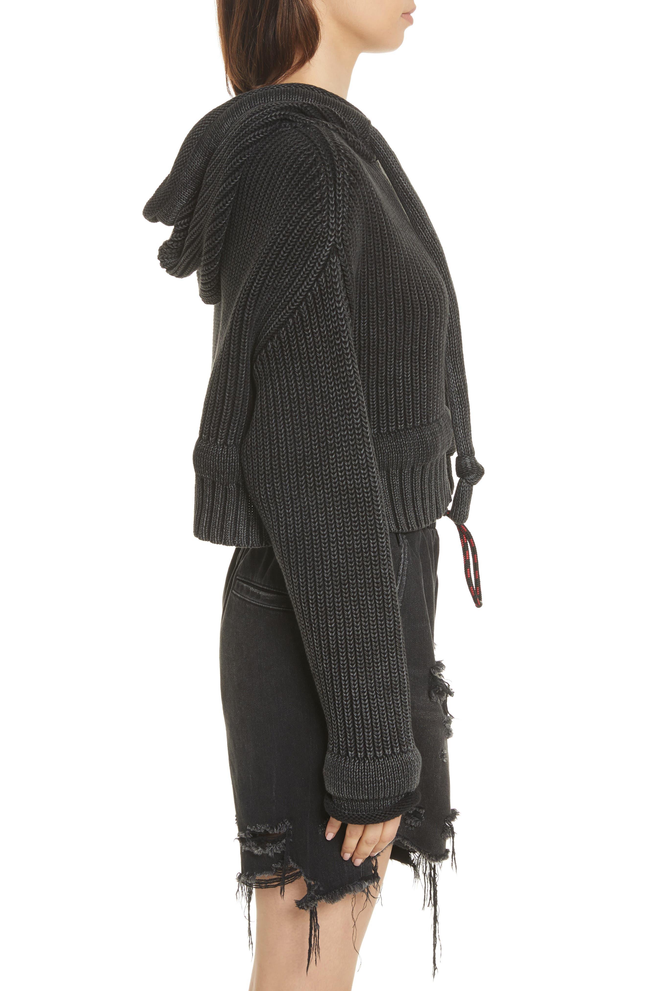 Chunky Knit Hoodie,                             Alternate thumbnail 4, color,                             Black Acid Wash