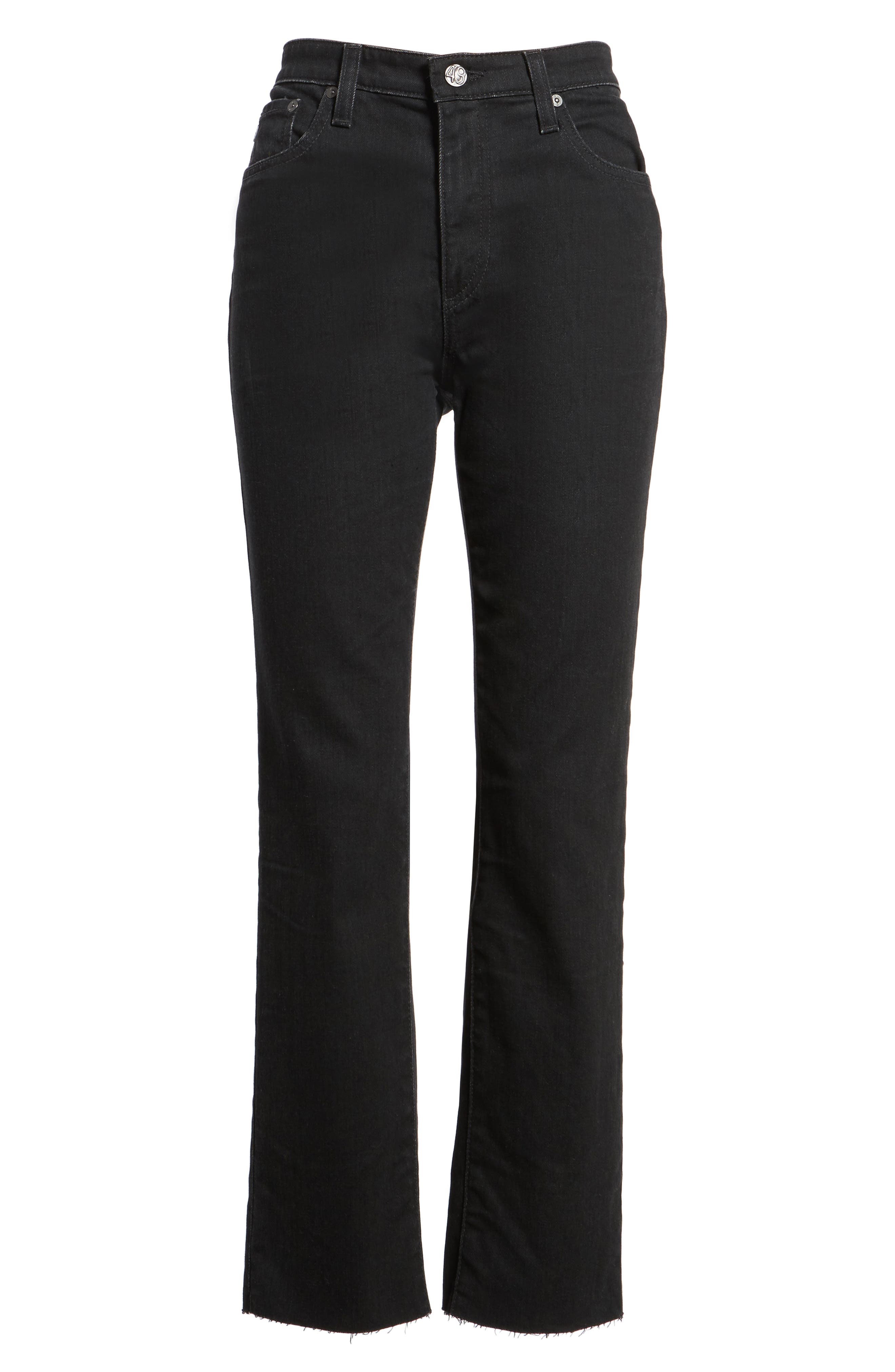 The Isabelle High Waist Crop Straight Leg Jeans,                             Alternate thumbnail 7, color,                             1 Year Black Hawk