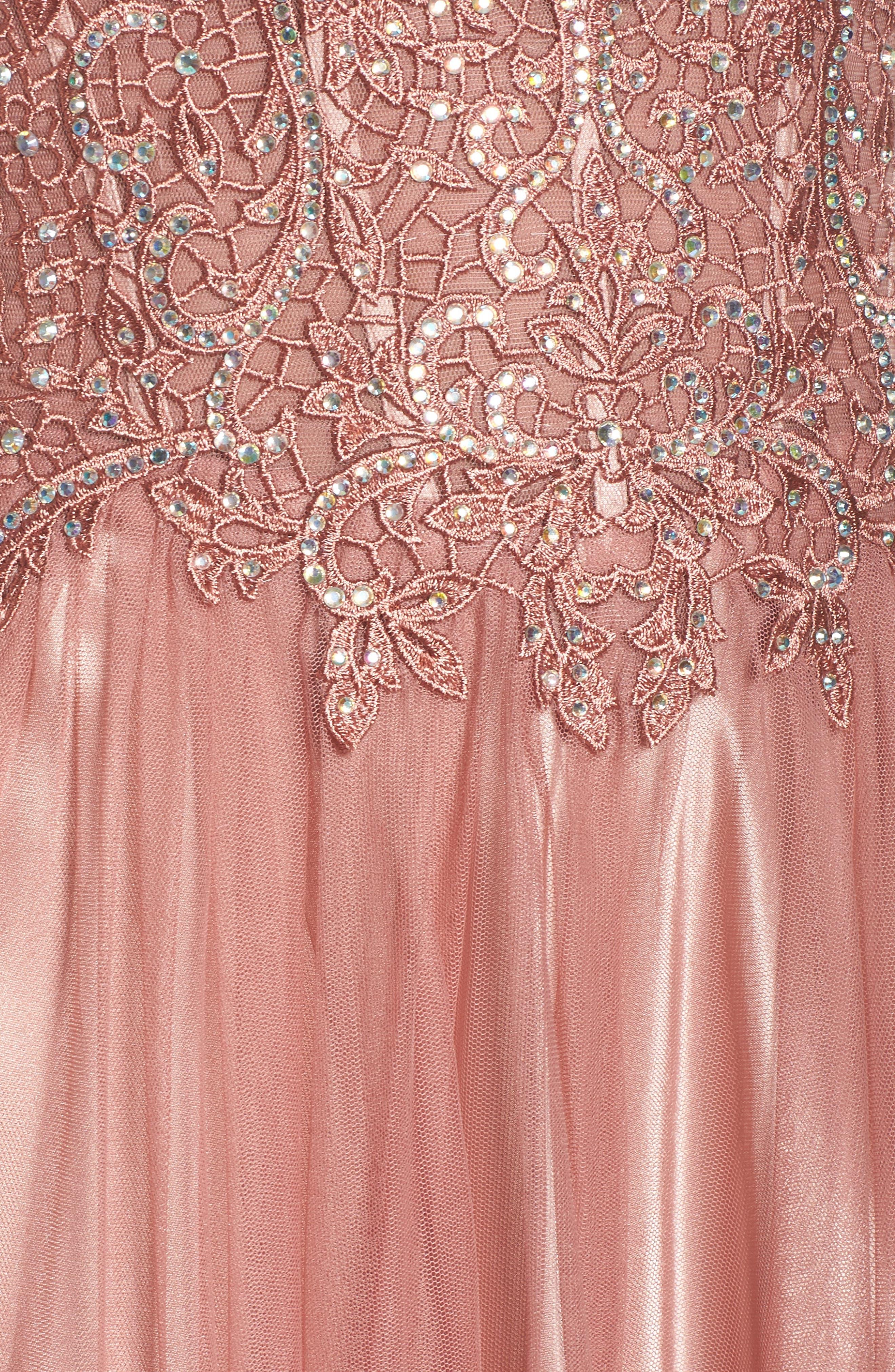 Embellished Corset Ballgown,                             Alternate thumbnail 5, color,                             Rose
