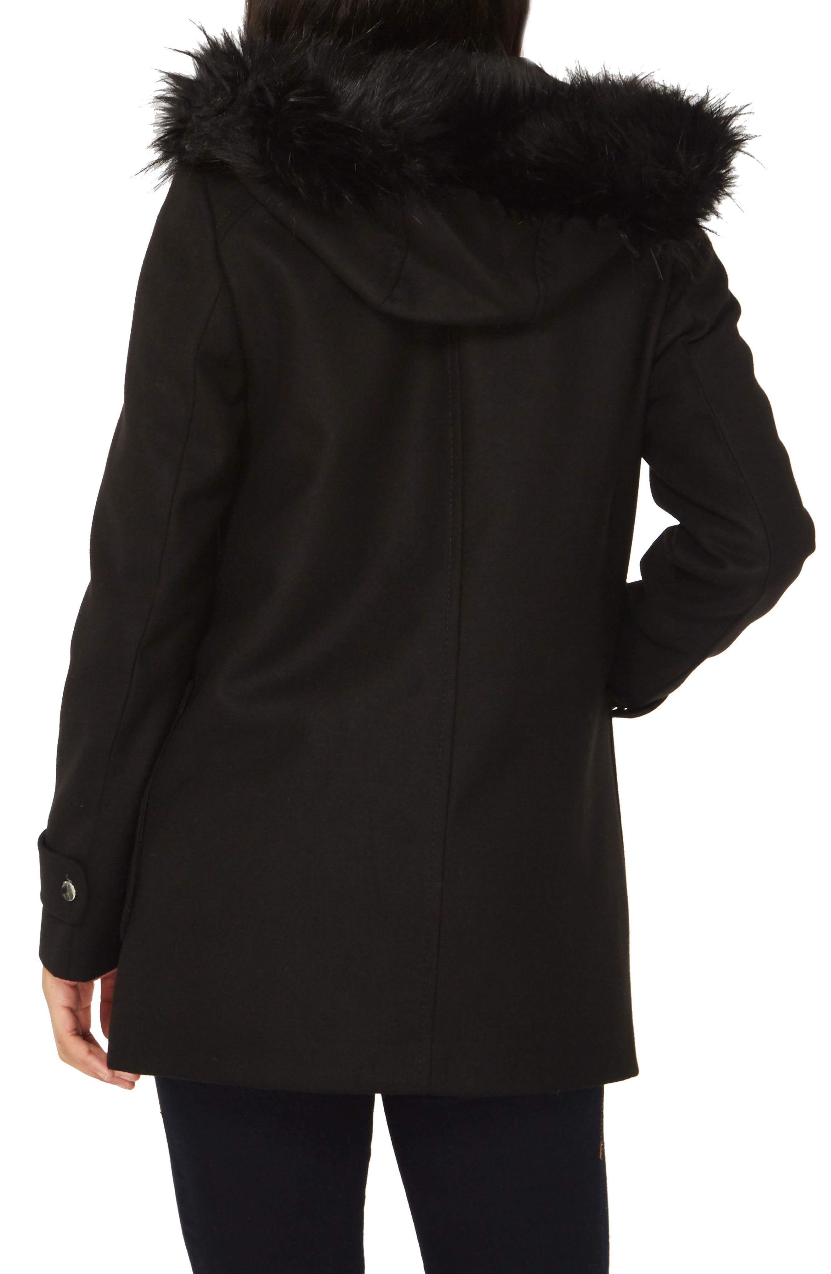 Hooded Duffle Coat with Faux Fur Trim,                             Alternate thumbnail 2, color,                             Black