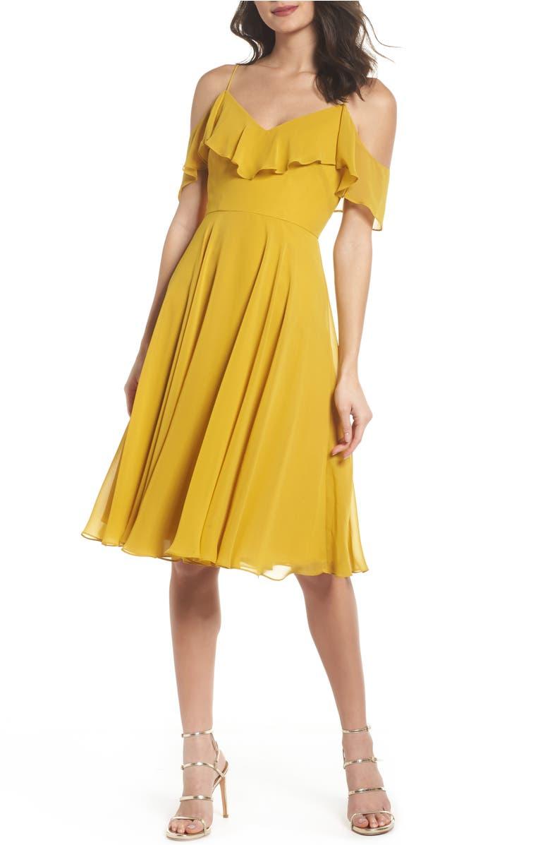 Jenny Yoo KELLI COLD SHOULDER CHIFFON DRESS