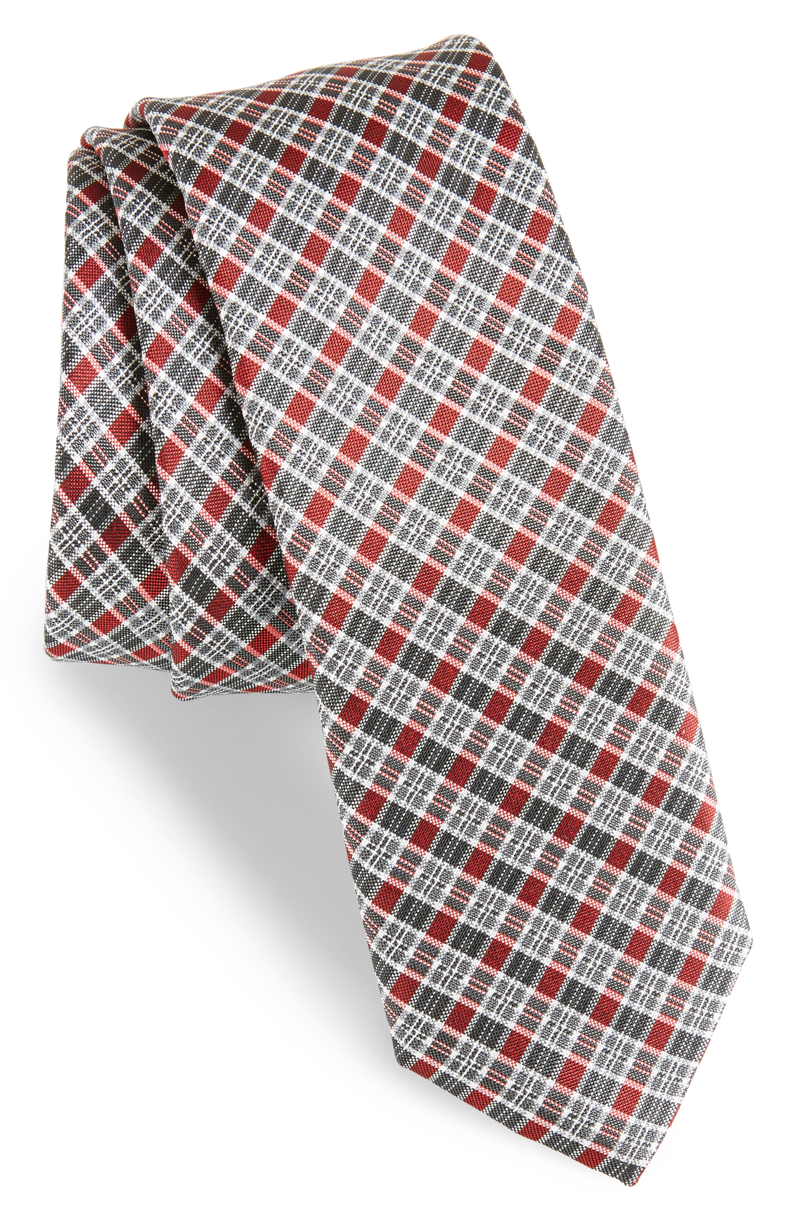 Plaid Silk Tie,                         Main,                         color, Red