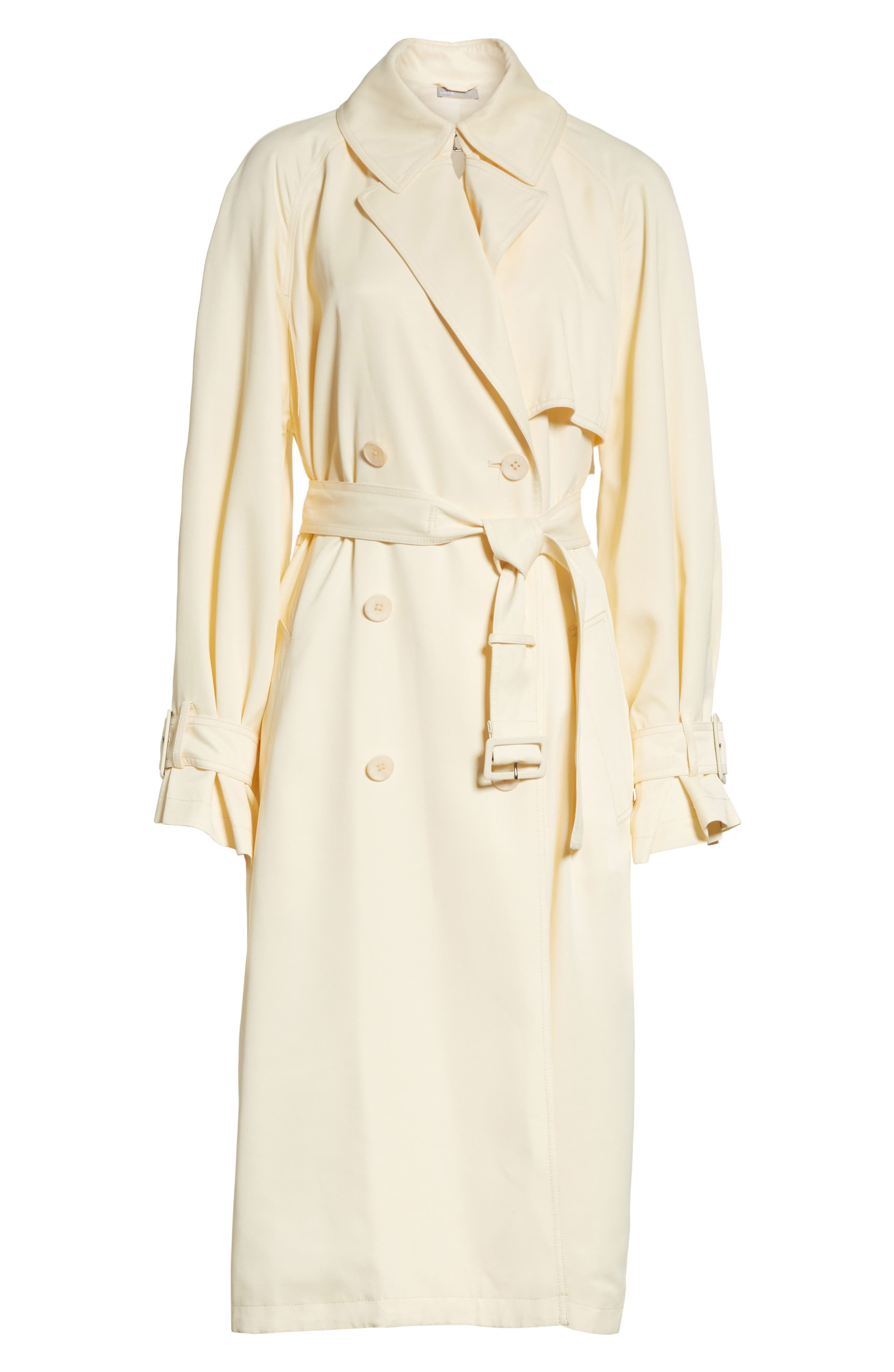 Drapey Trench Coat,                             Alternate thumbnail 7, color,                             Buttercream