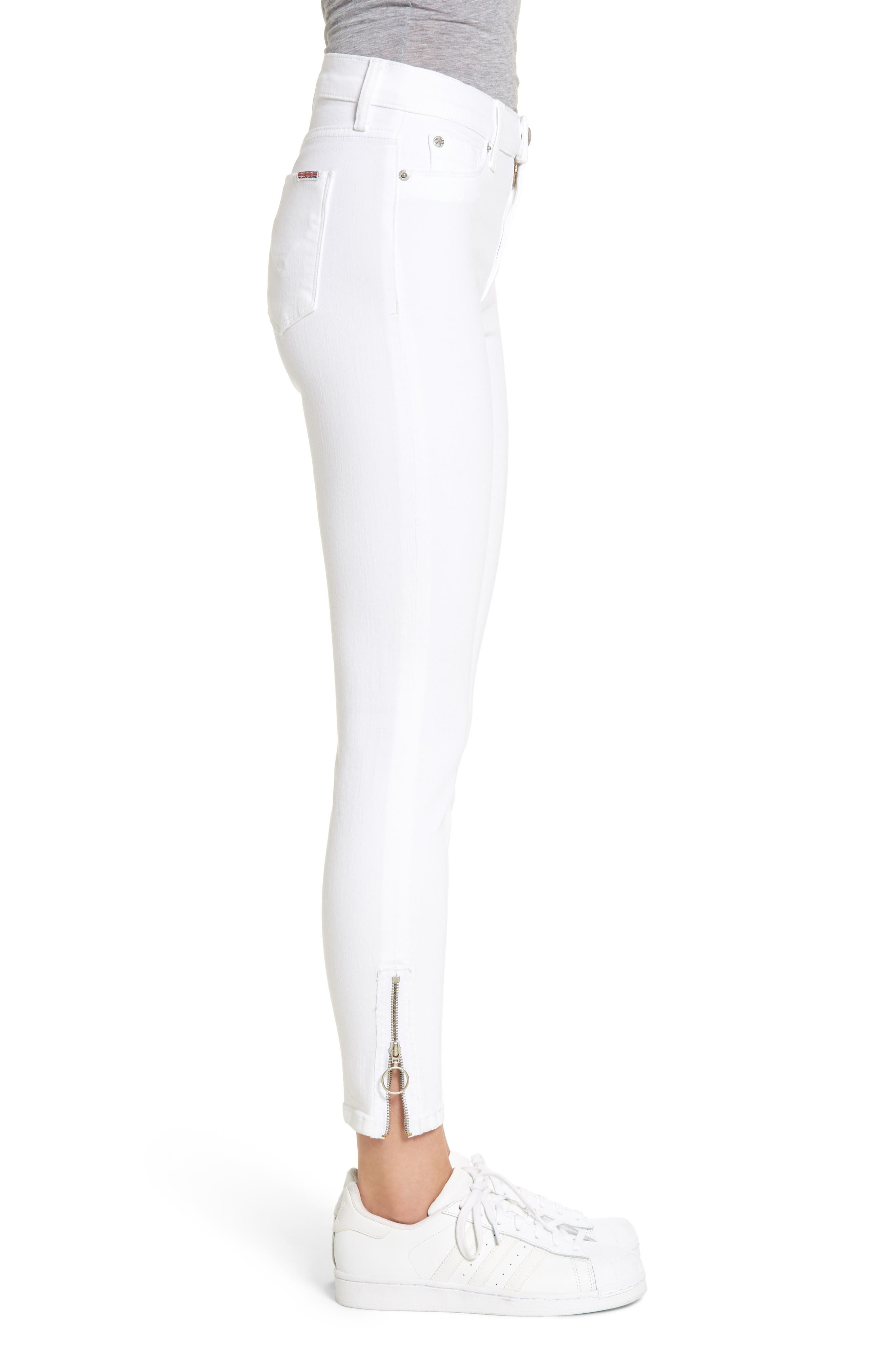 Barbara High Waist Ankle Skinny Jeans,                             Alternate thumbnail 3, color,                             Optical White