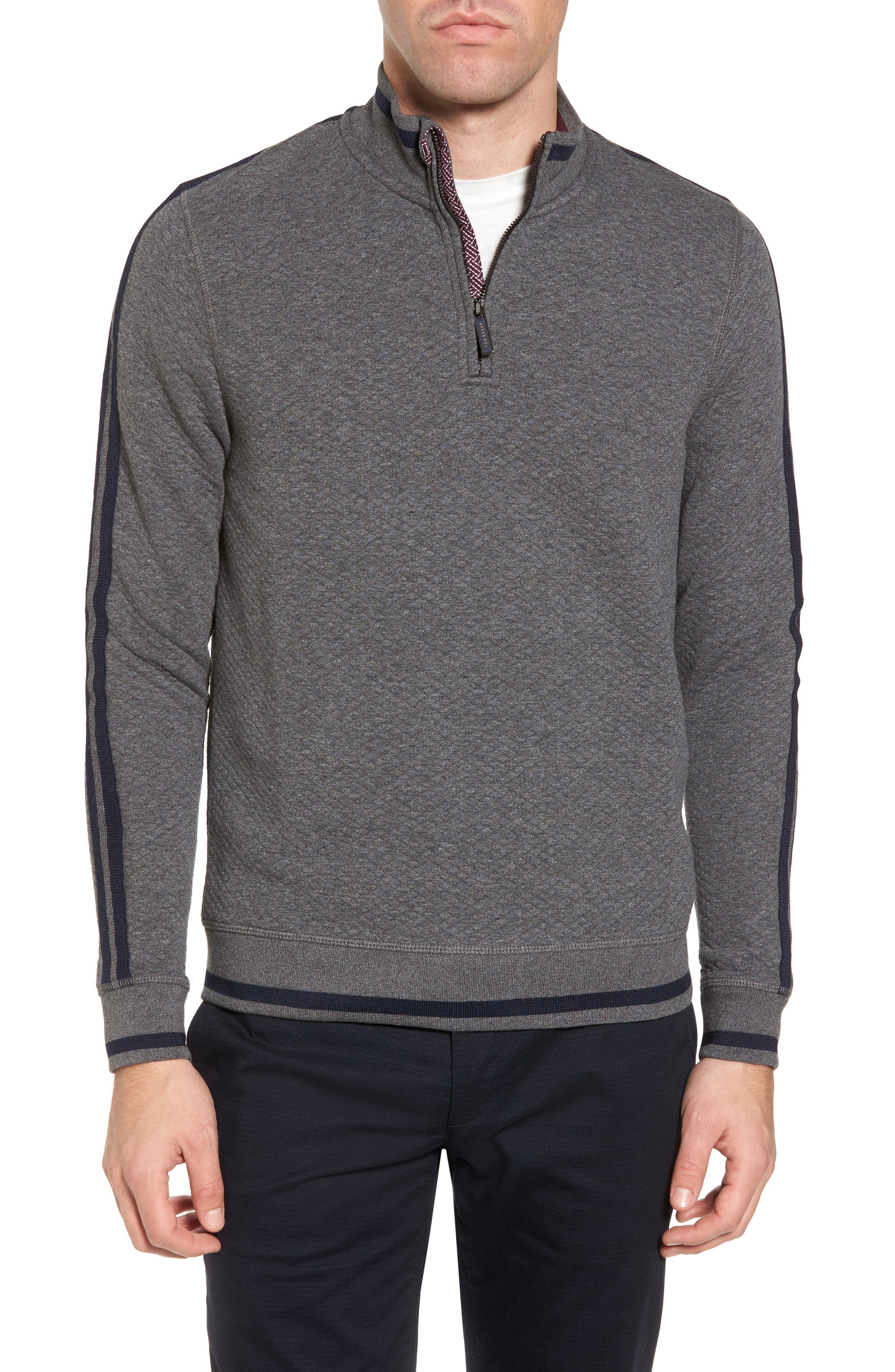 Sidney Quilted Quarter Zip Sweatshirt,                         Main,                         color, Charcaol