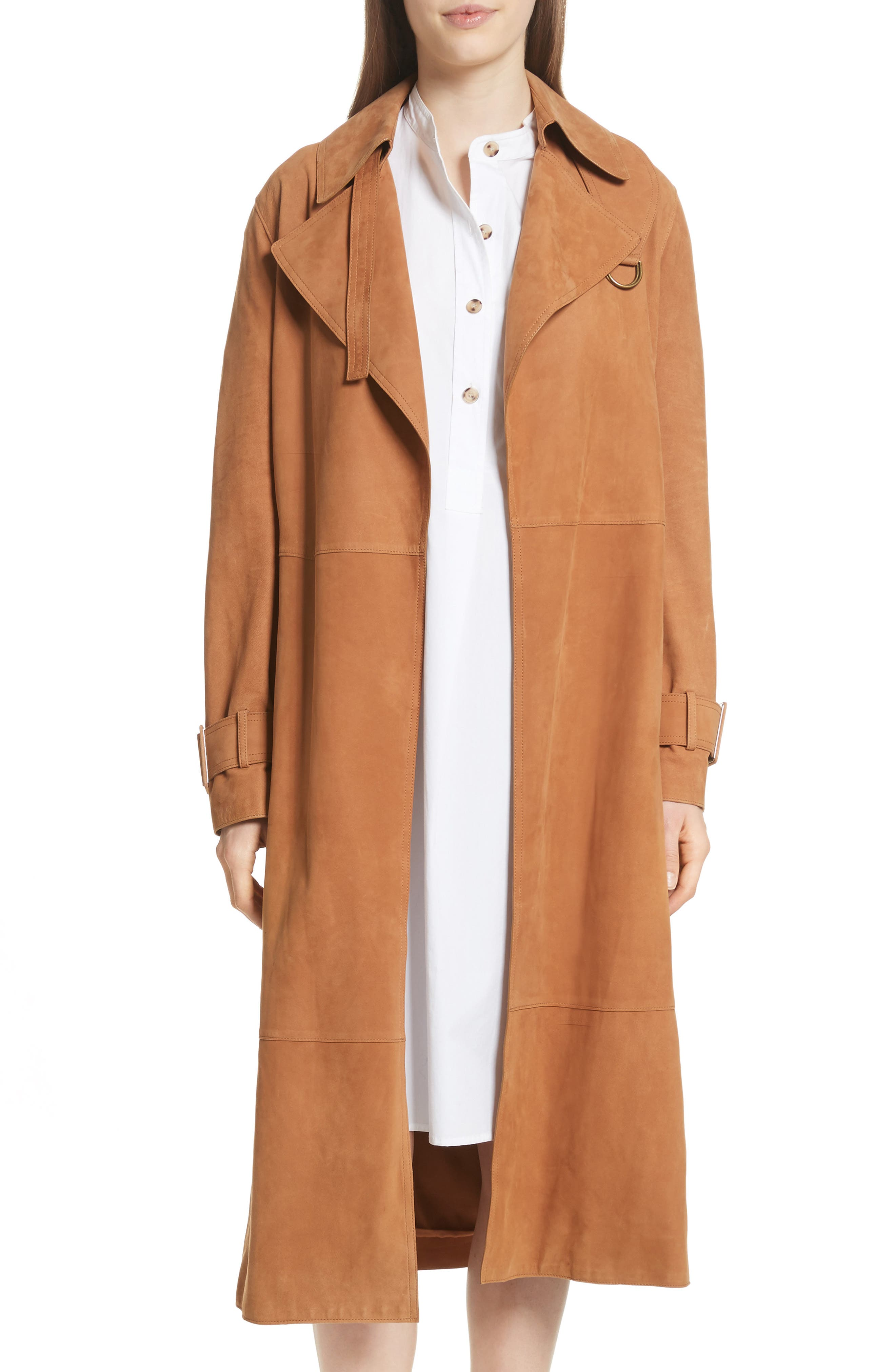 Suede Trench Coat,                             Main thumbnail 1, color,                             Deep Saddle