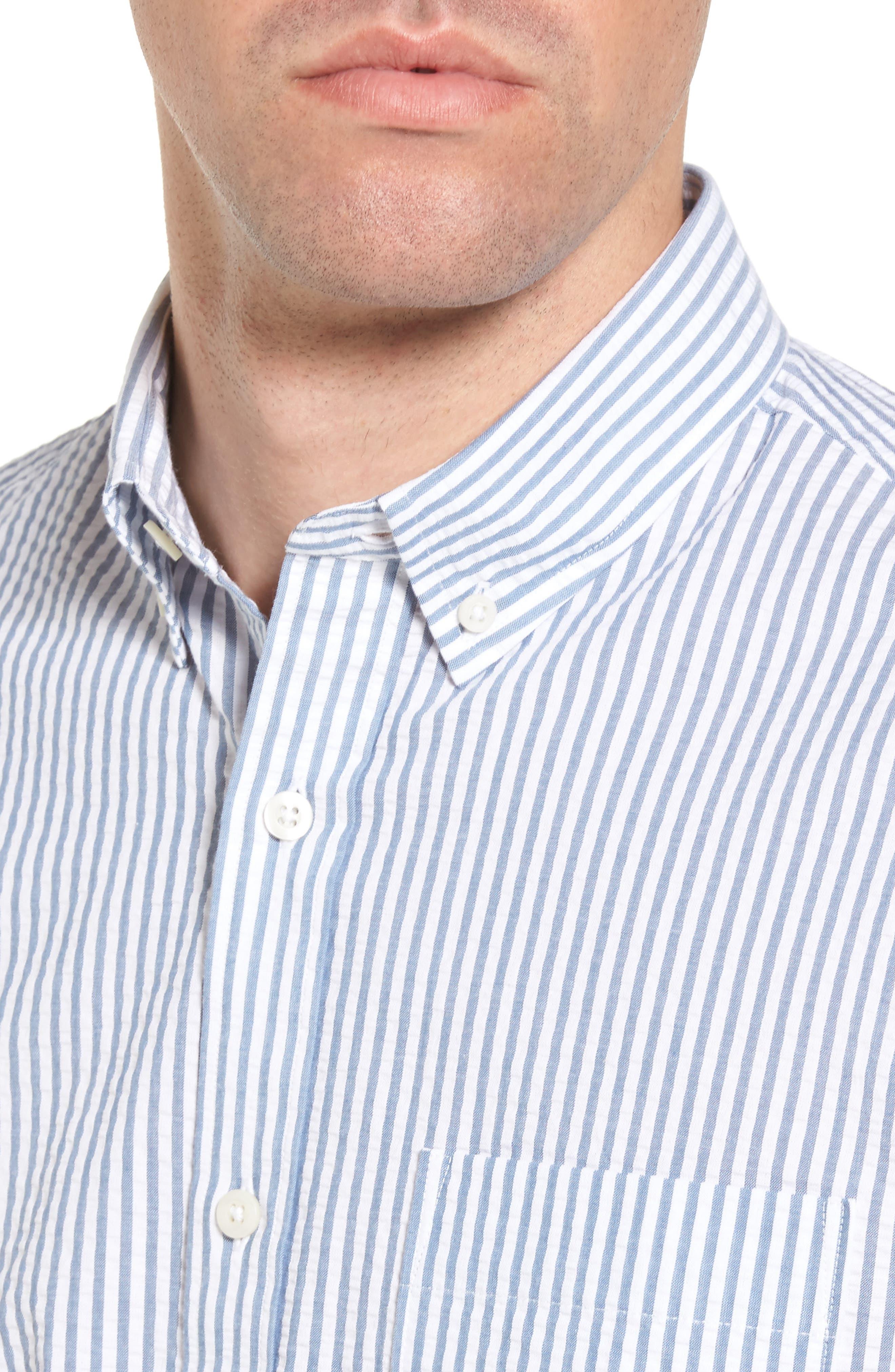 Trim Fit Seersucker Short Sleeve Sport Shirt,                             Alternate thumbnail 2, color,                             White Navy Seersucker Stripe