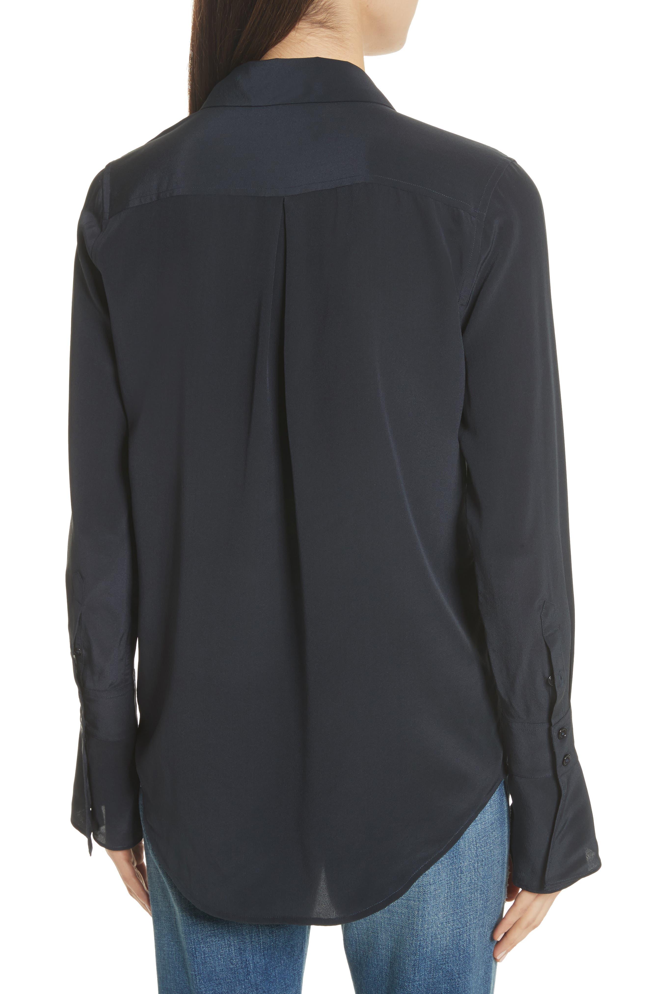 Daphine Bell Cuff Silk Shirt,                             Alternate thumbnail 2, color,                             Eclipse