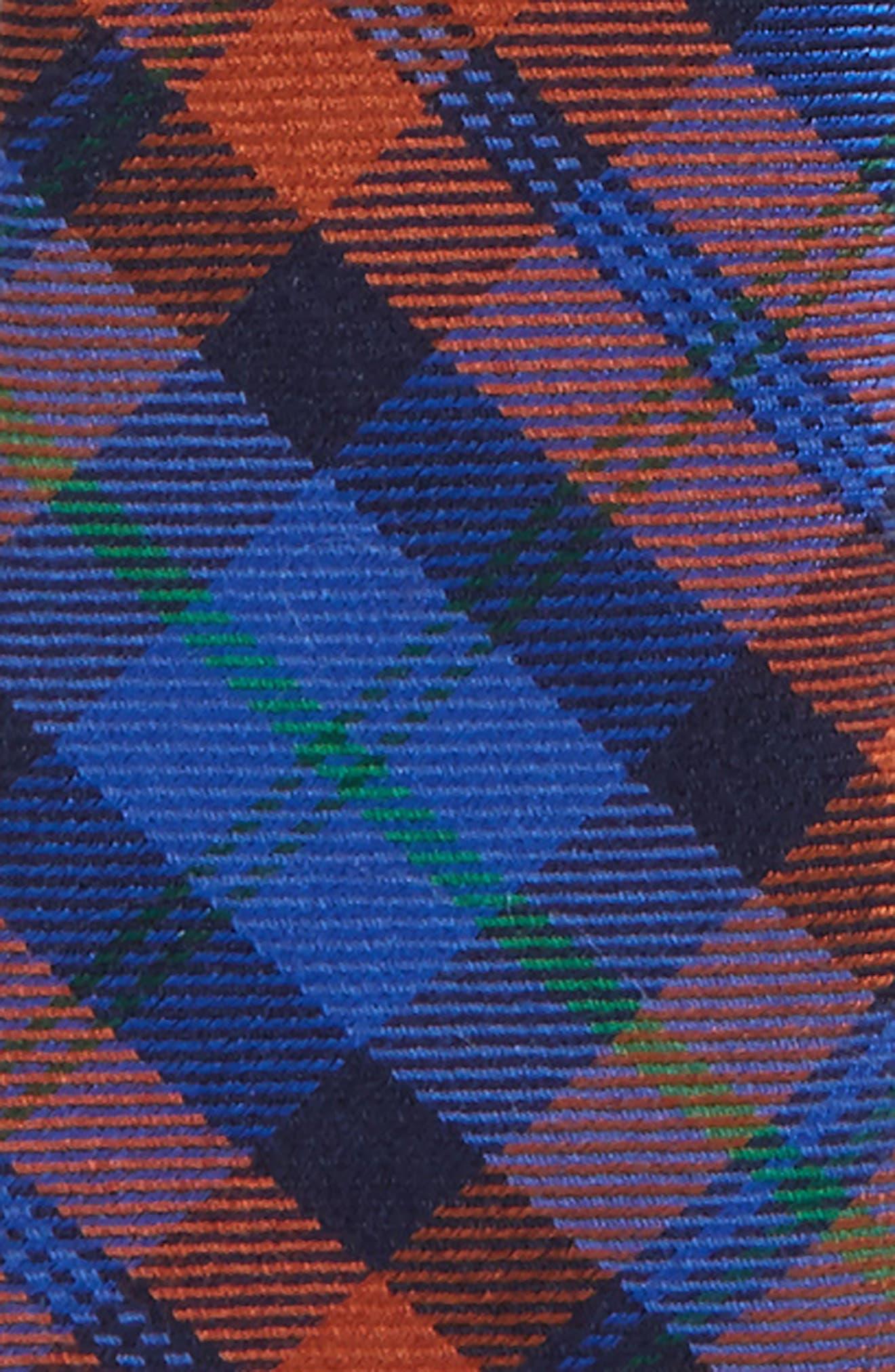 Plaid Wool & Silk Zip Tie,                             Alternate thumbnail 2, color,                             Orange