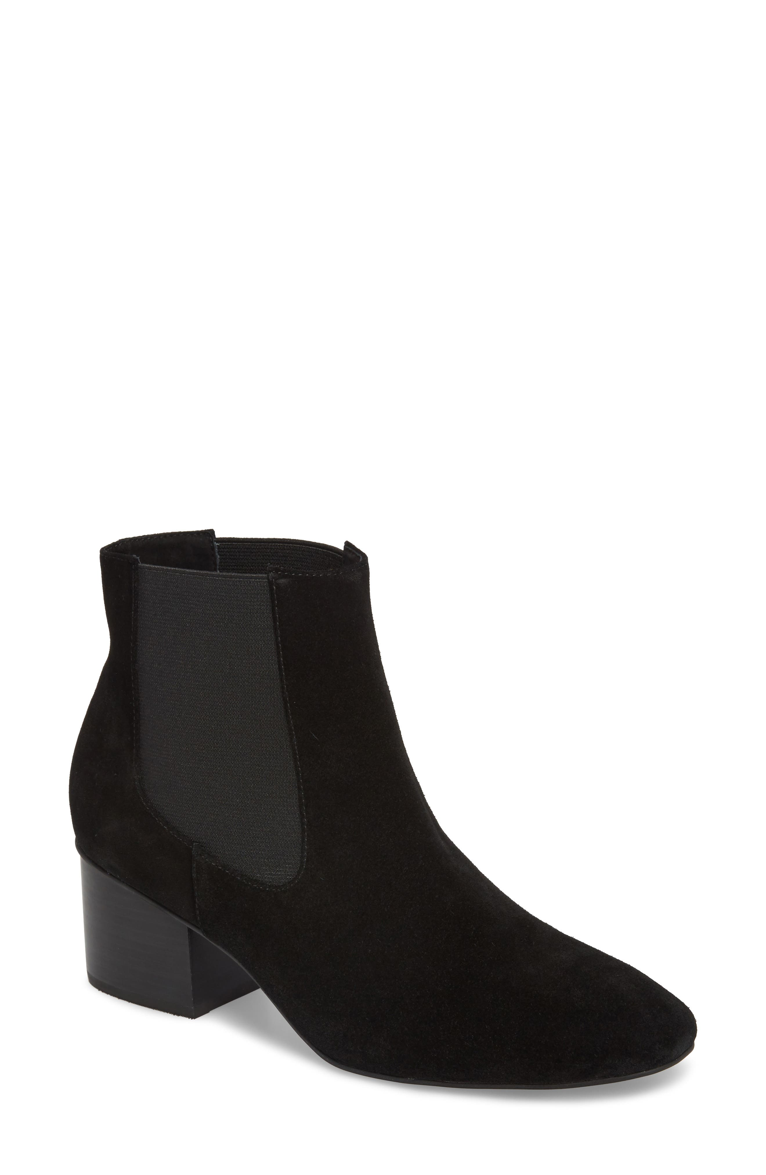 Tucker Chelsea Bootie,                             Main thumbnail 1, color,                             Black Leather