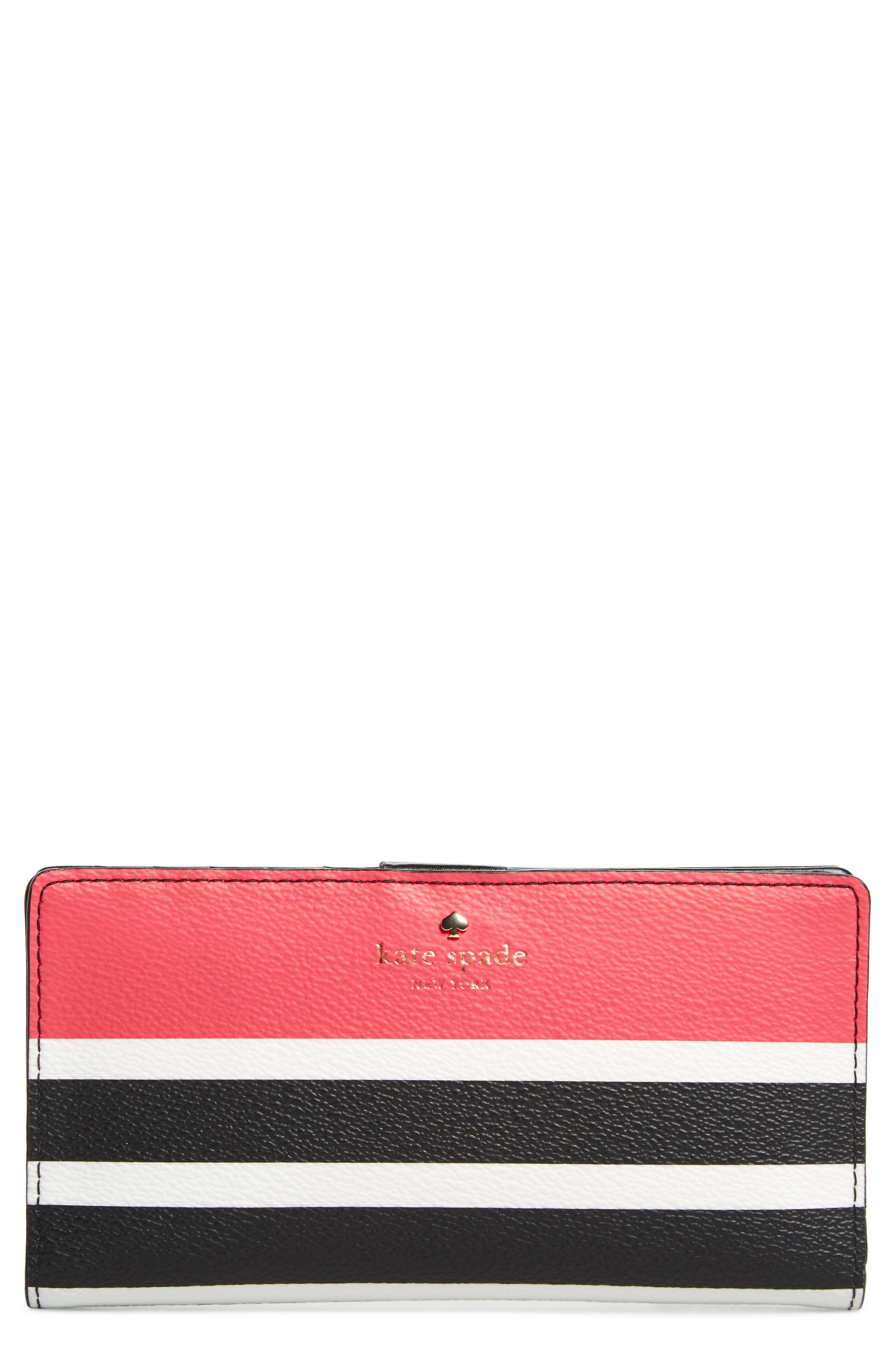 hyde lane - stripe faux leather stacy wallet,                         Main,                         color, Peach Sherbet