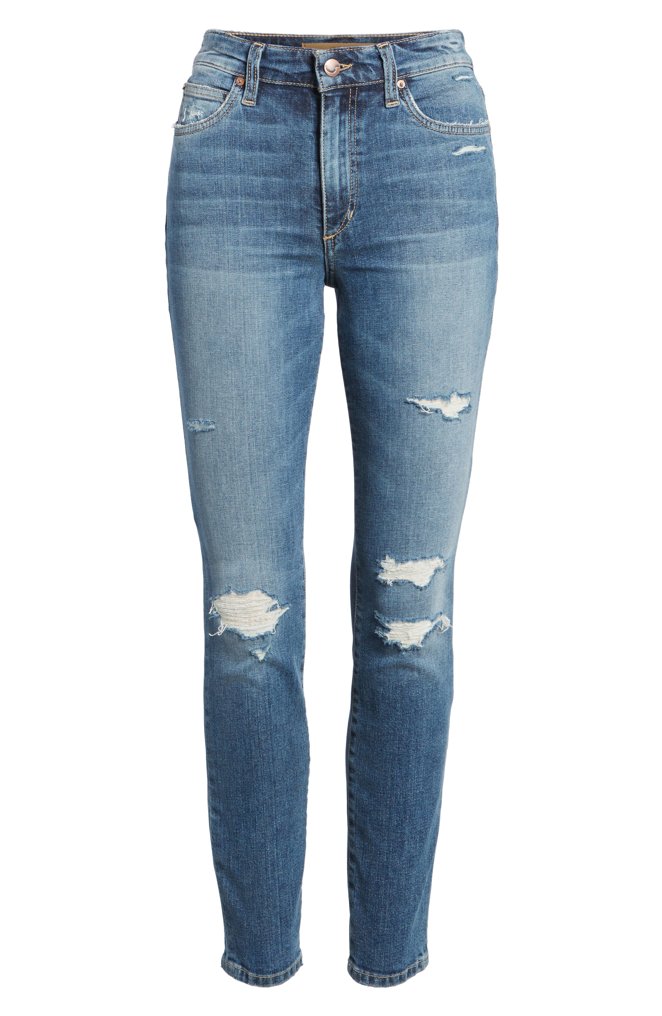 Charlie High Waist Ankle Skinny Jeans,                             Alternate thumbnail 7, color,                             Kandie