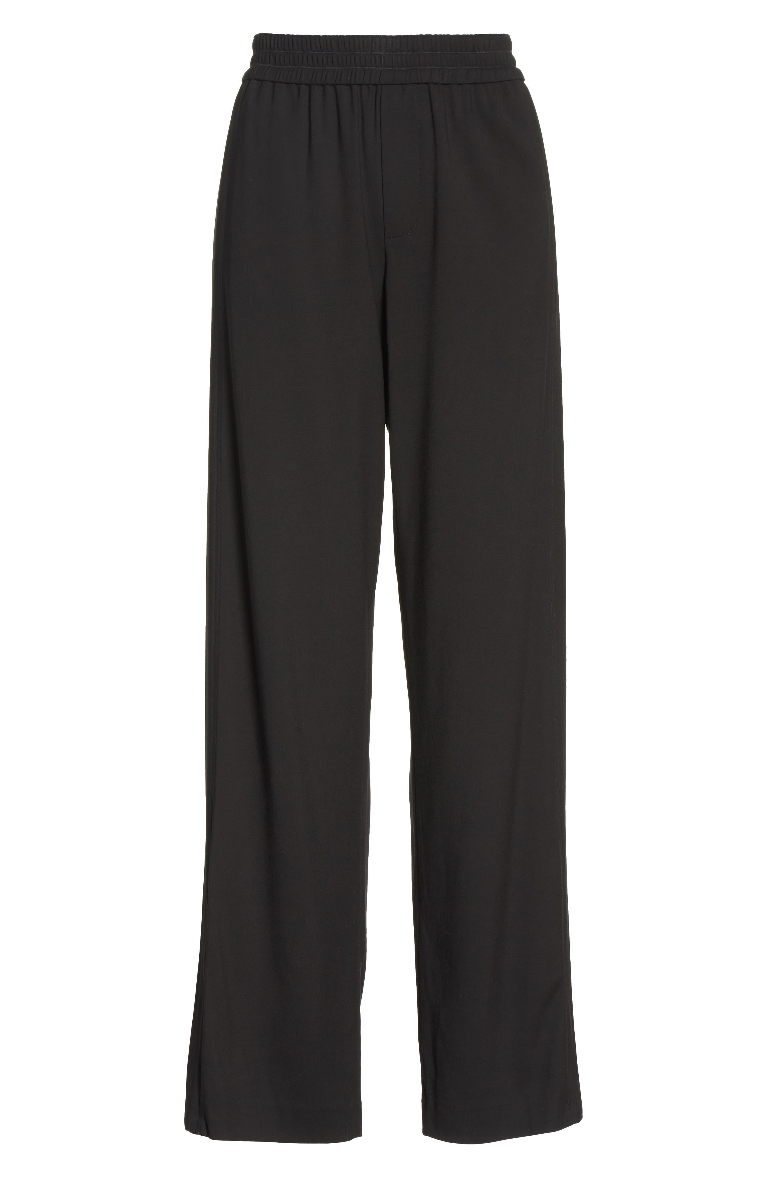 Ankle Zip Wide Leg Pants,                             Alternate thumbnail 6, color,                             Black