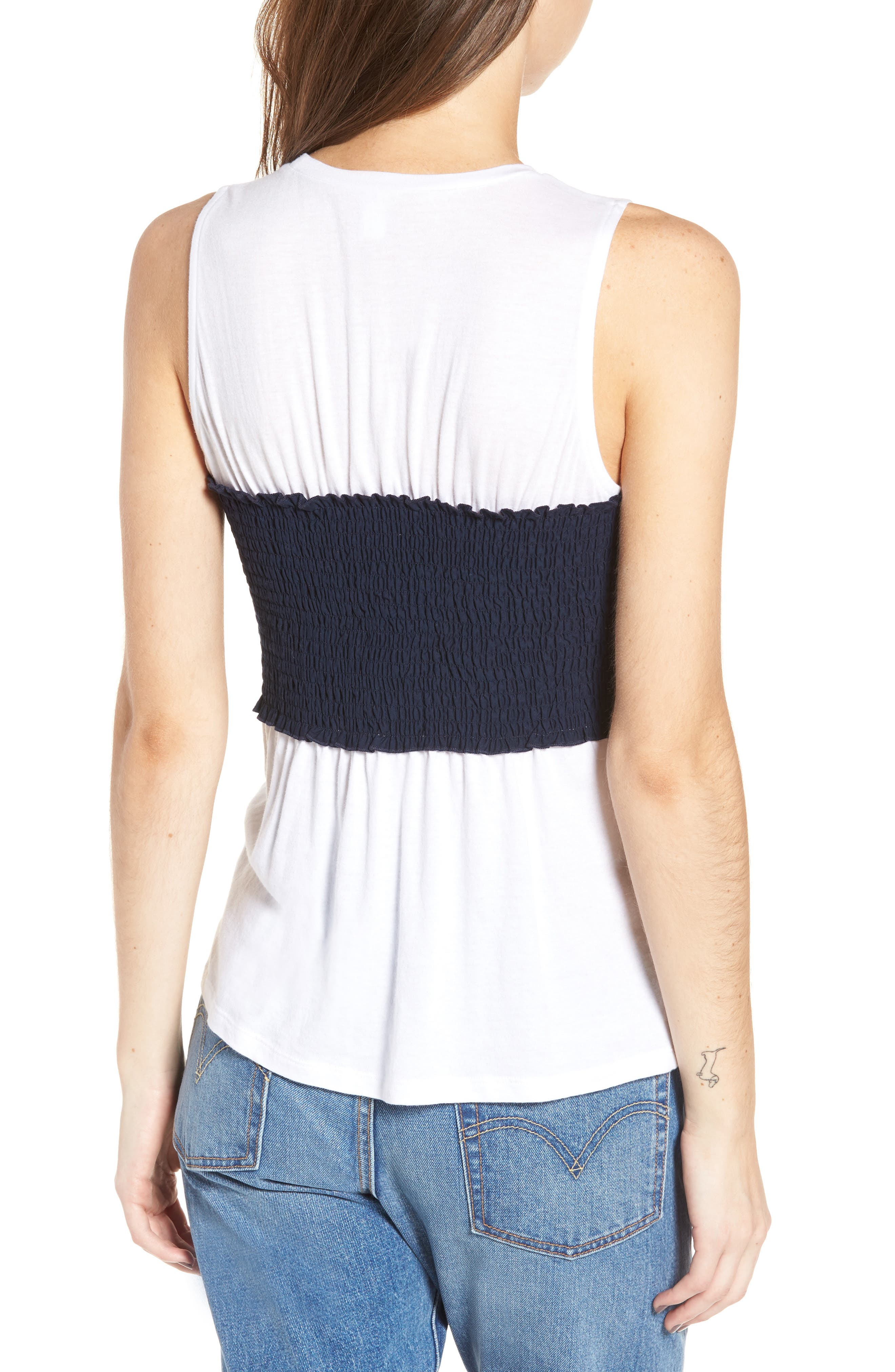 Tie Front Corset Tee,                             Alternate thumbnail 2, color,                             White