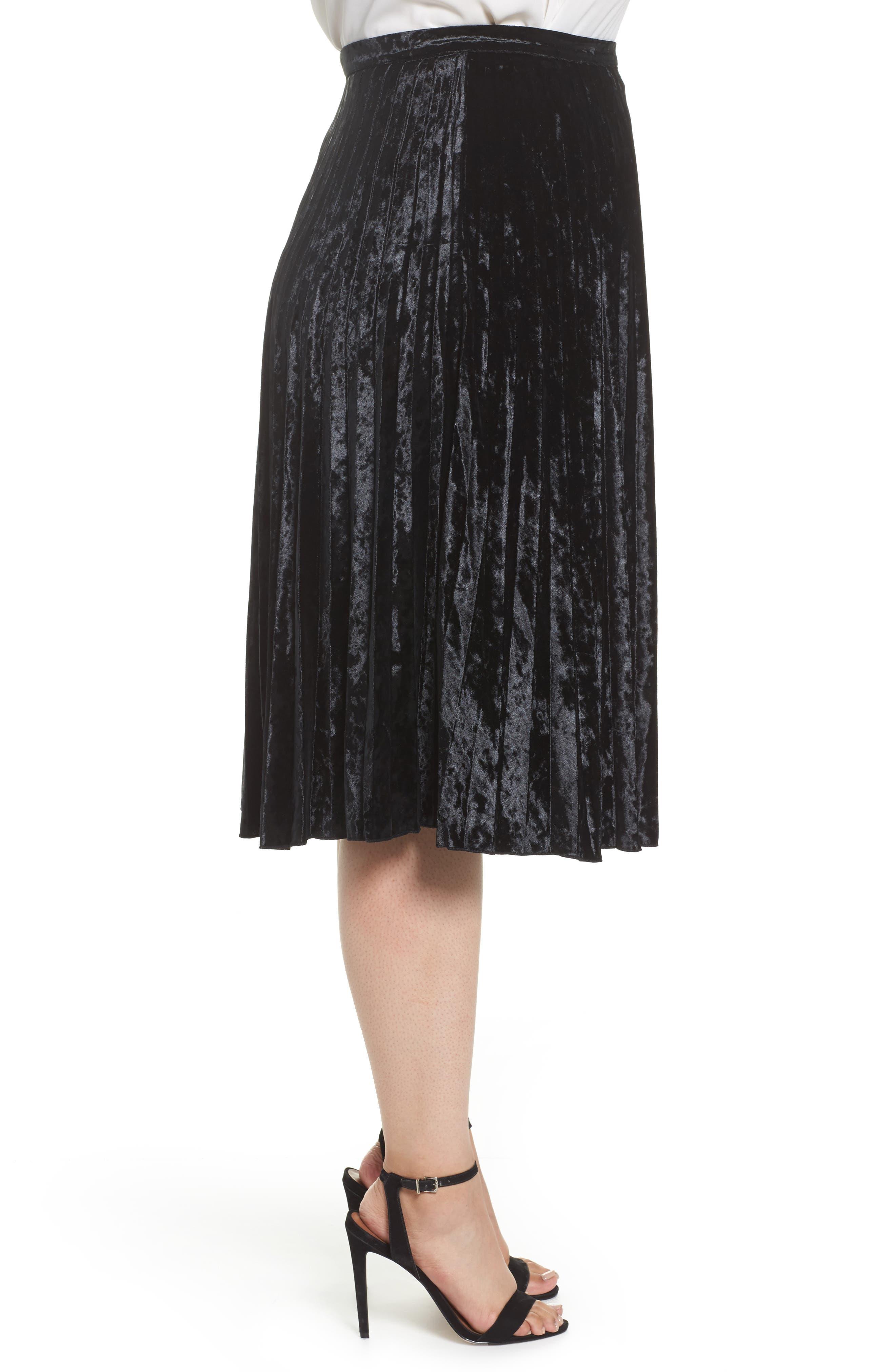 Velvet Pleat Skirt,                             Alternate thumbnail 4, color,                             Black Velvet