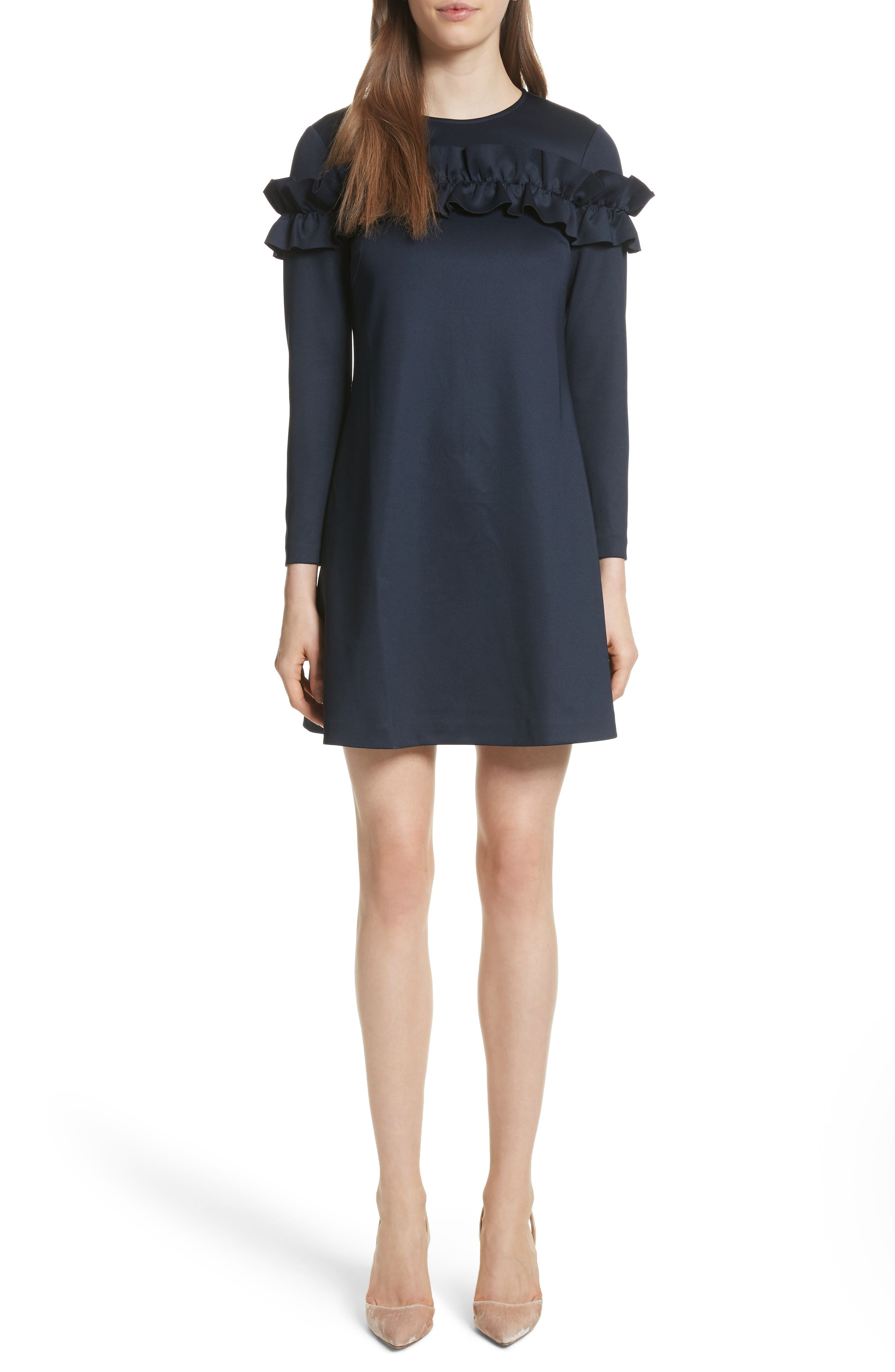 Ruffle Bodice Tunic Dress,                         Main,                         color, Dark Blue