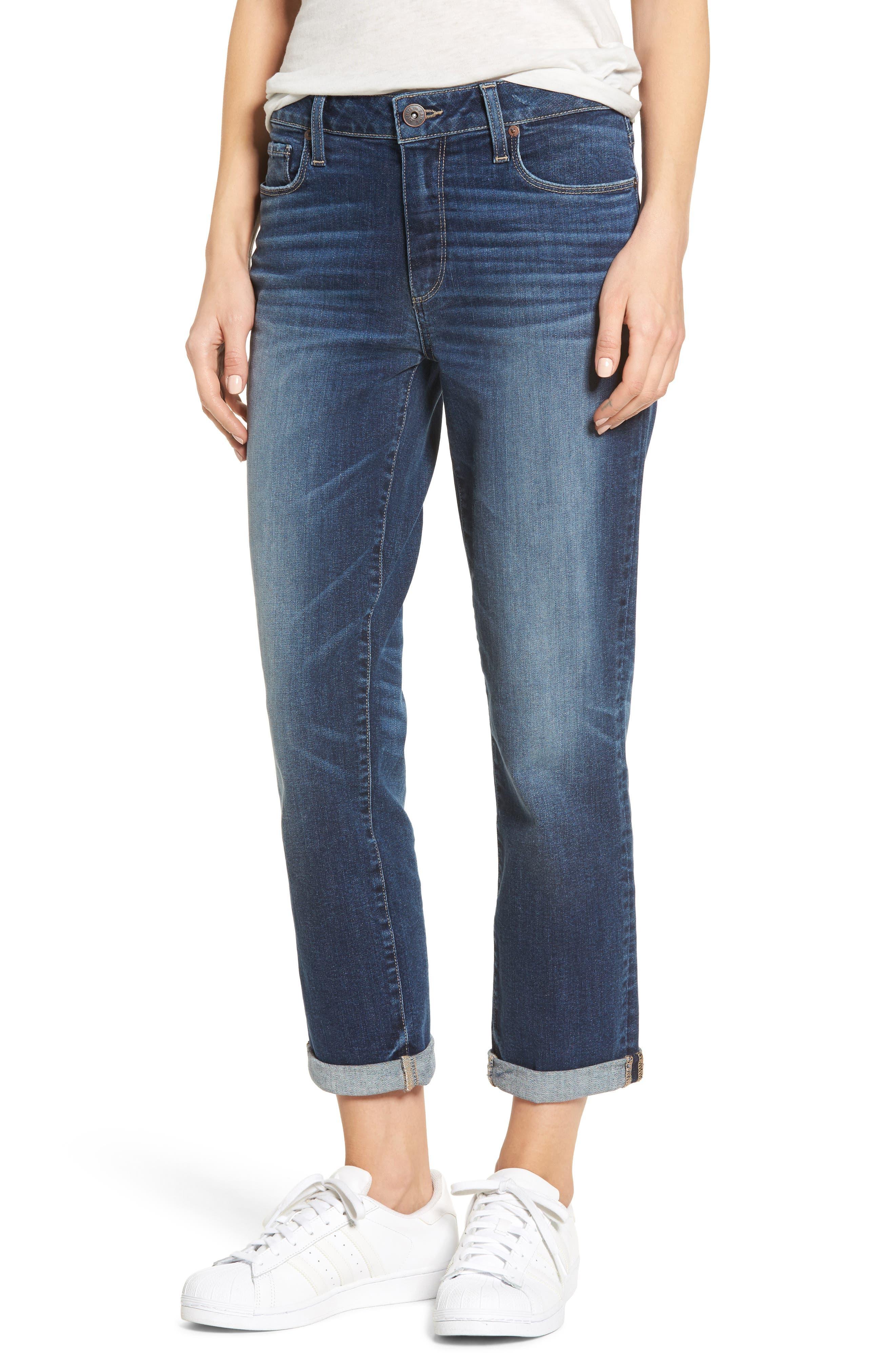 Jimmy Jimmy High Waist Crop Boyfriend Jeans,                         Main,                         color, Blue