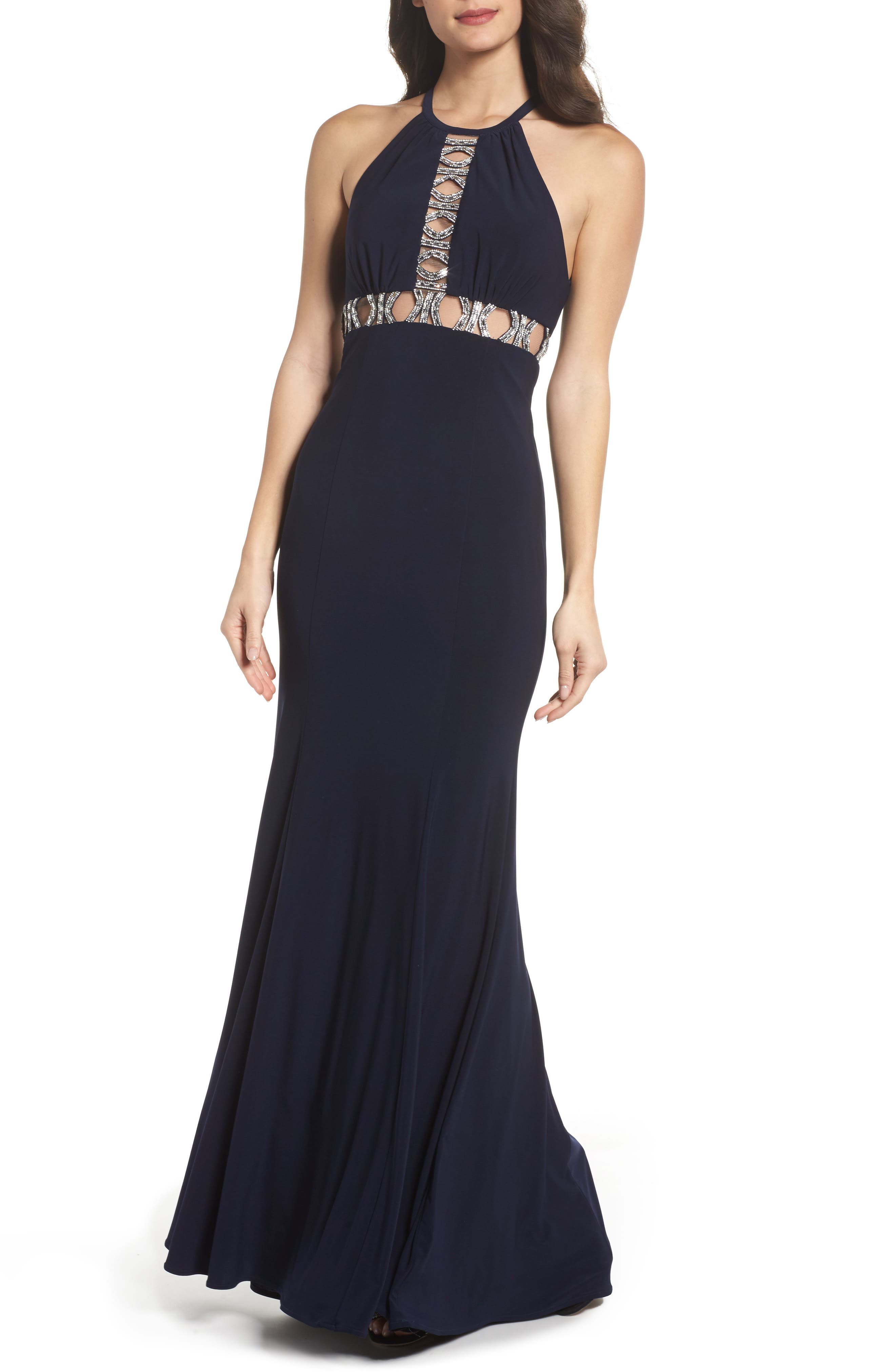 Embellished Halter Mermaid Gown,                             Main thumbnail 1, color,                             Navy/ Silver