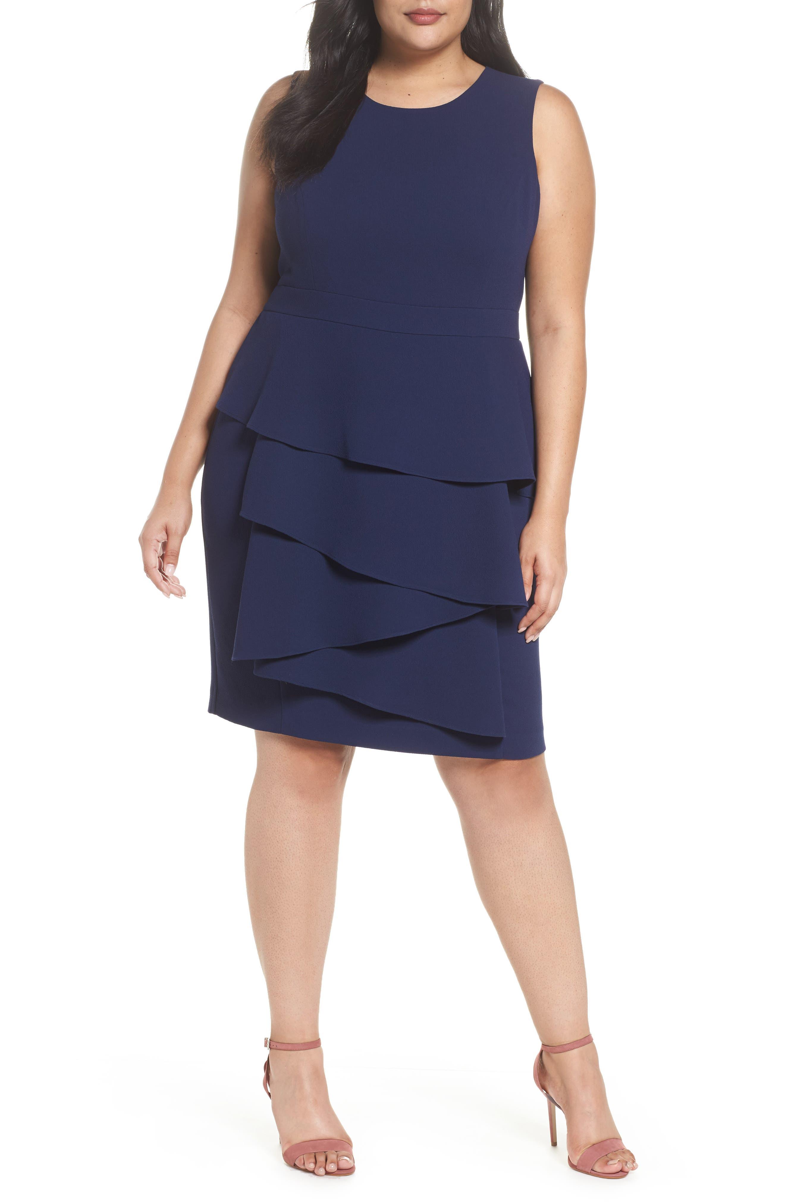 Ella Cascade Crepe Sheath Dress,                         Main,                         color, Indigo
