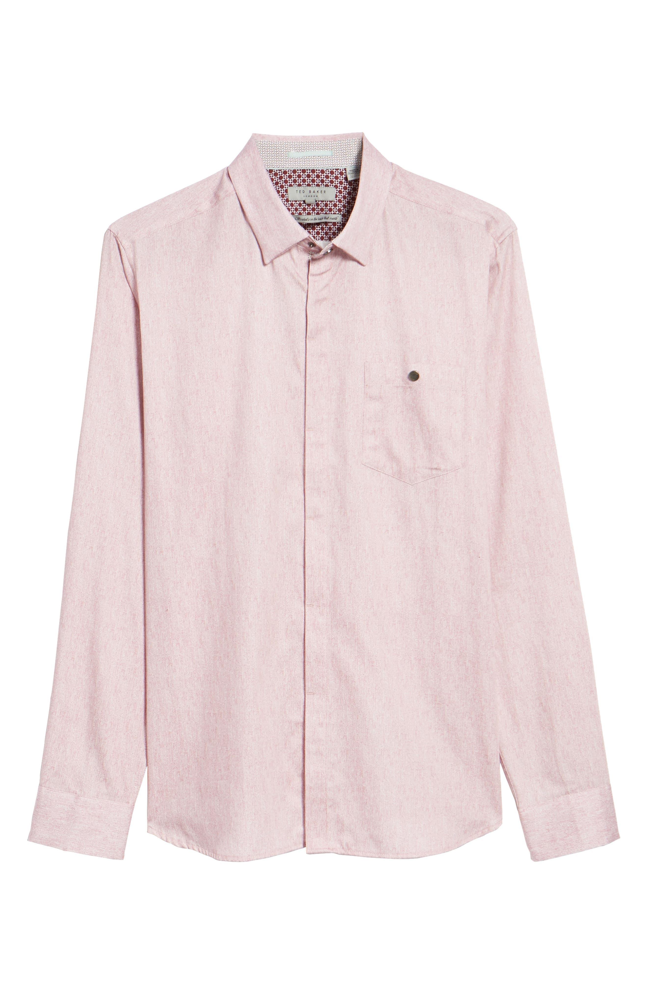 Alternate Image 6  - Ted Baker London Lili Slim Fit Herringbone Sport Shirt