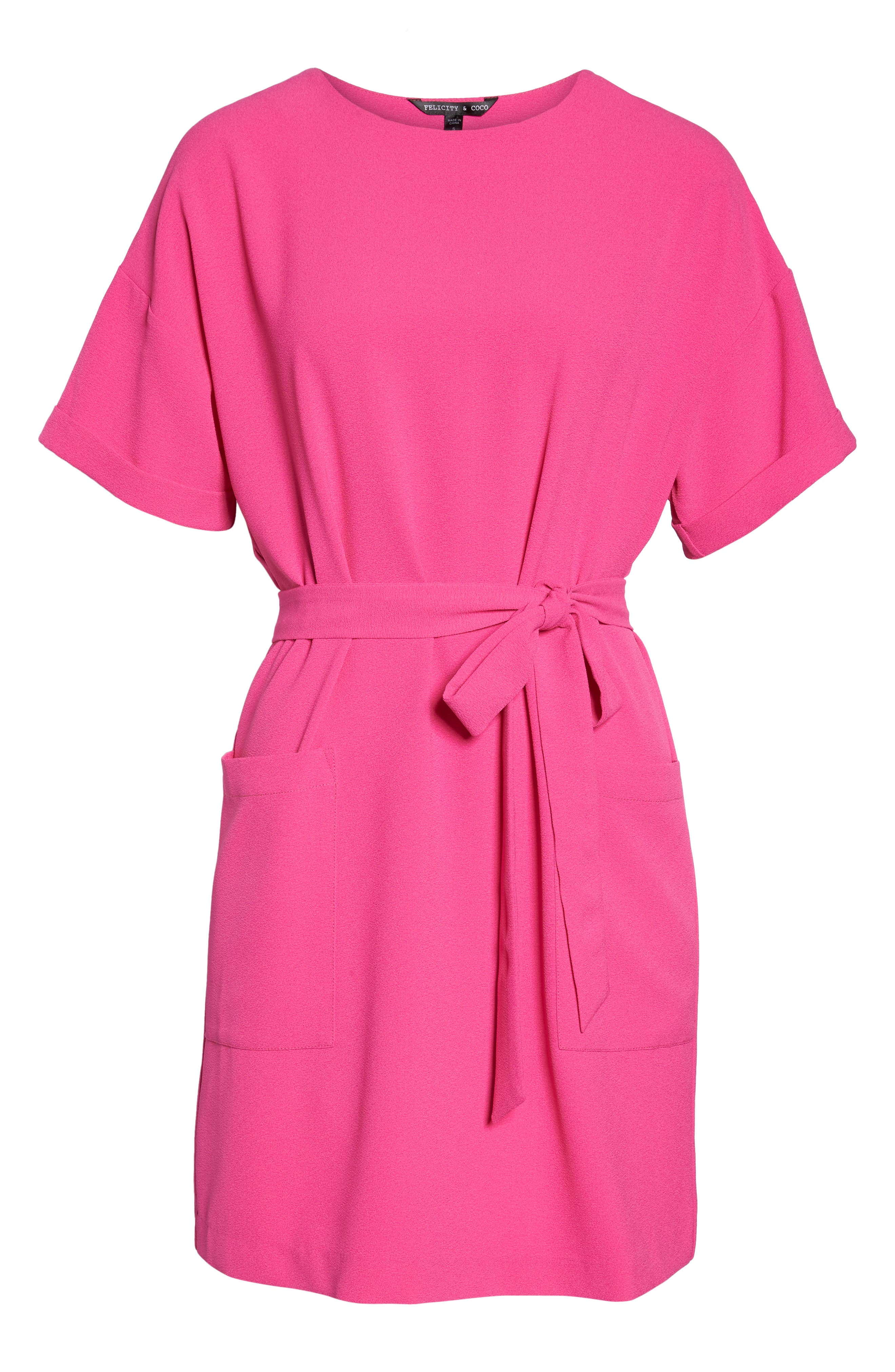 Halia Tie Waist Dress,                             Alternate thumbnail 6, color,                             Pink