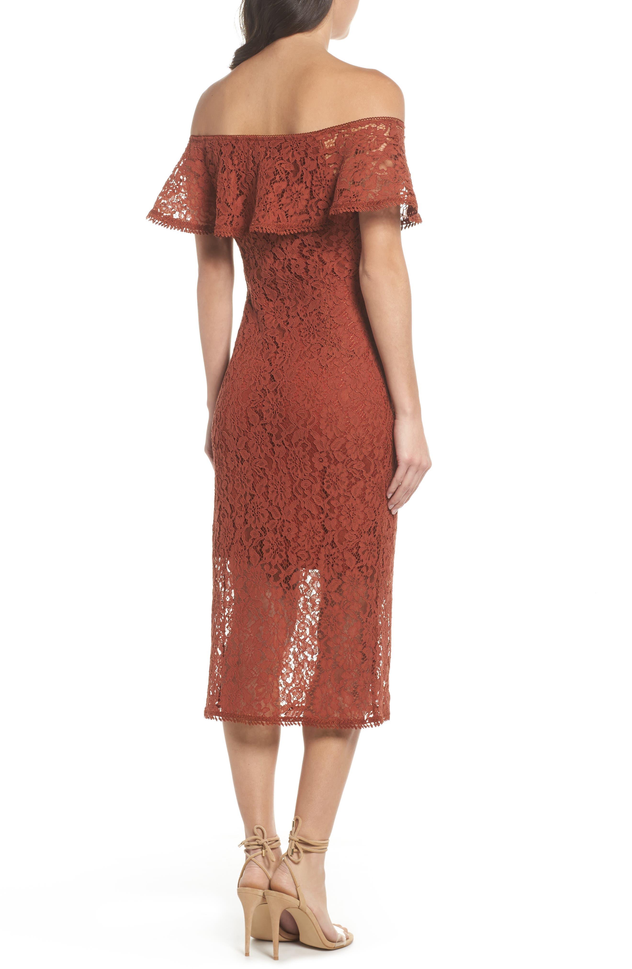 Lace Off the Shoulder Midi Dress,                             Alternate thumbnail 2, color,                             Cinnabar