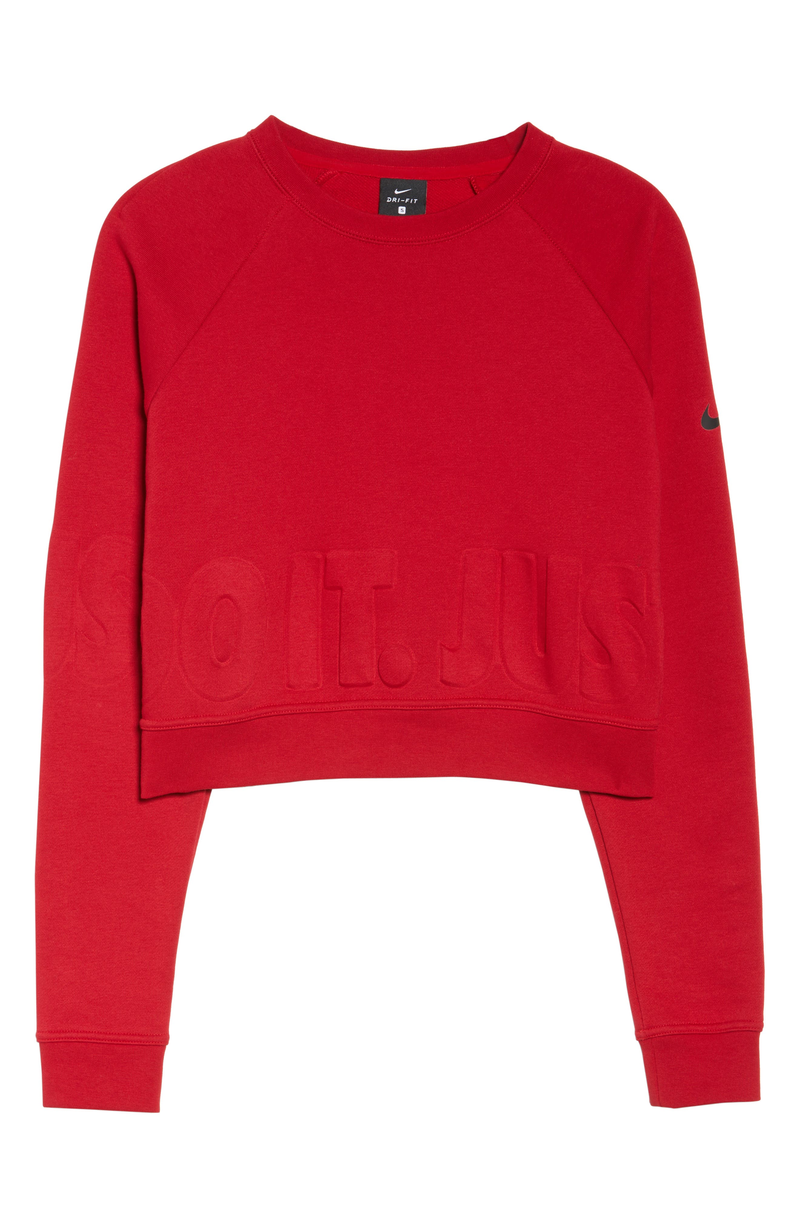 Long Sleeve Crop Training Top,                             Alternate thumbnail 7, color,                             Gym Red/ Black