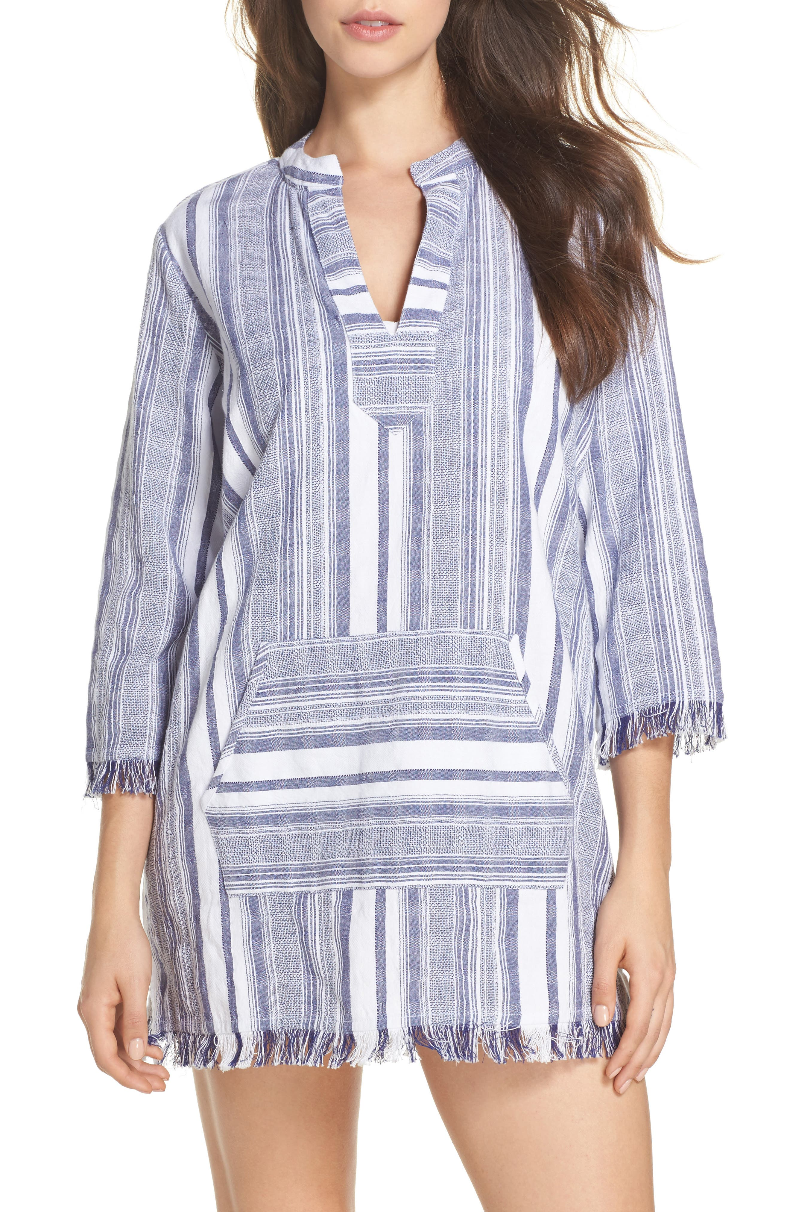 Yarn Dye Stripe Cover-Up Tunic,                         Main,                         color, White