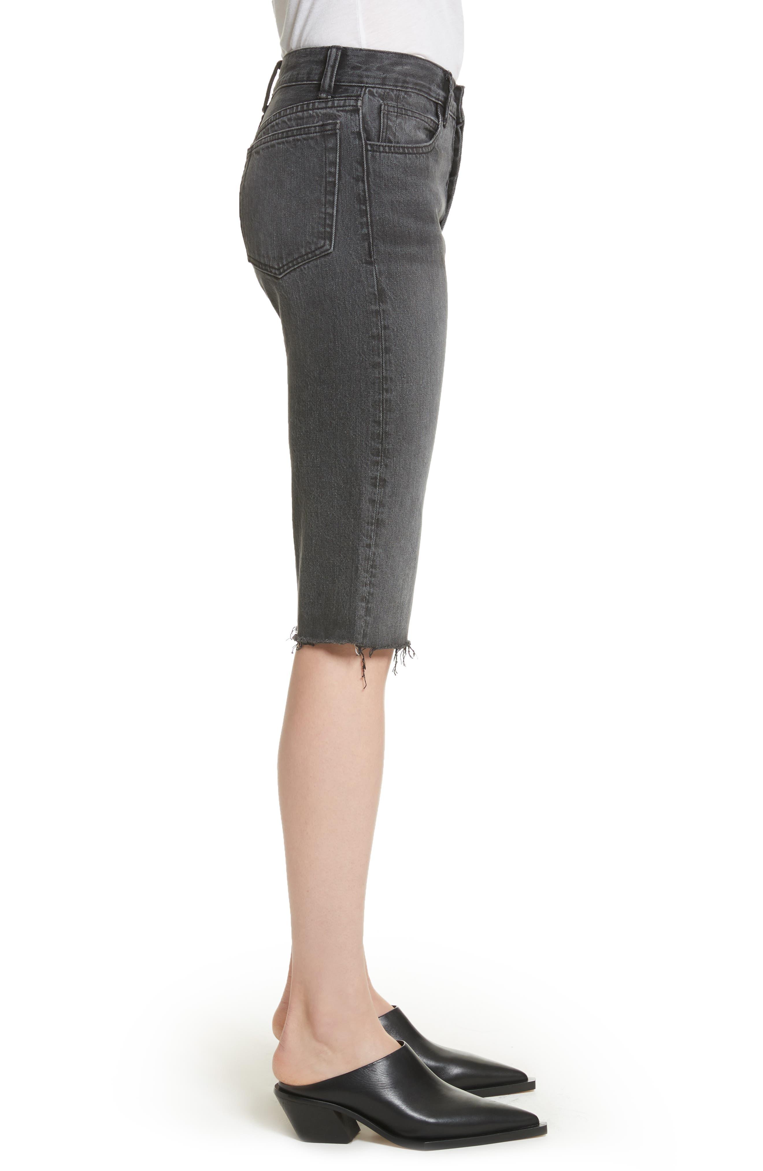 Cutoff Knee Length Denim Shorts,                             Alternate thumbnail 3, color,                             Rigid Black
