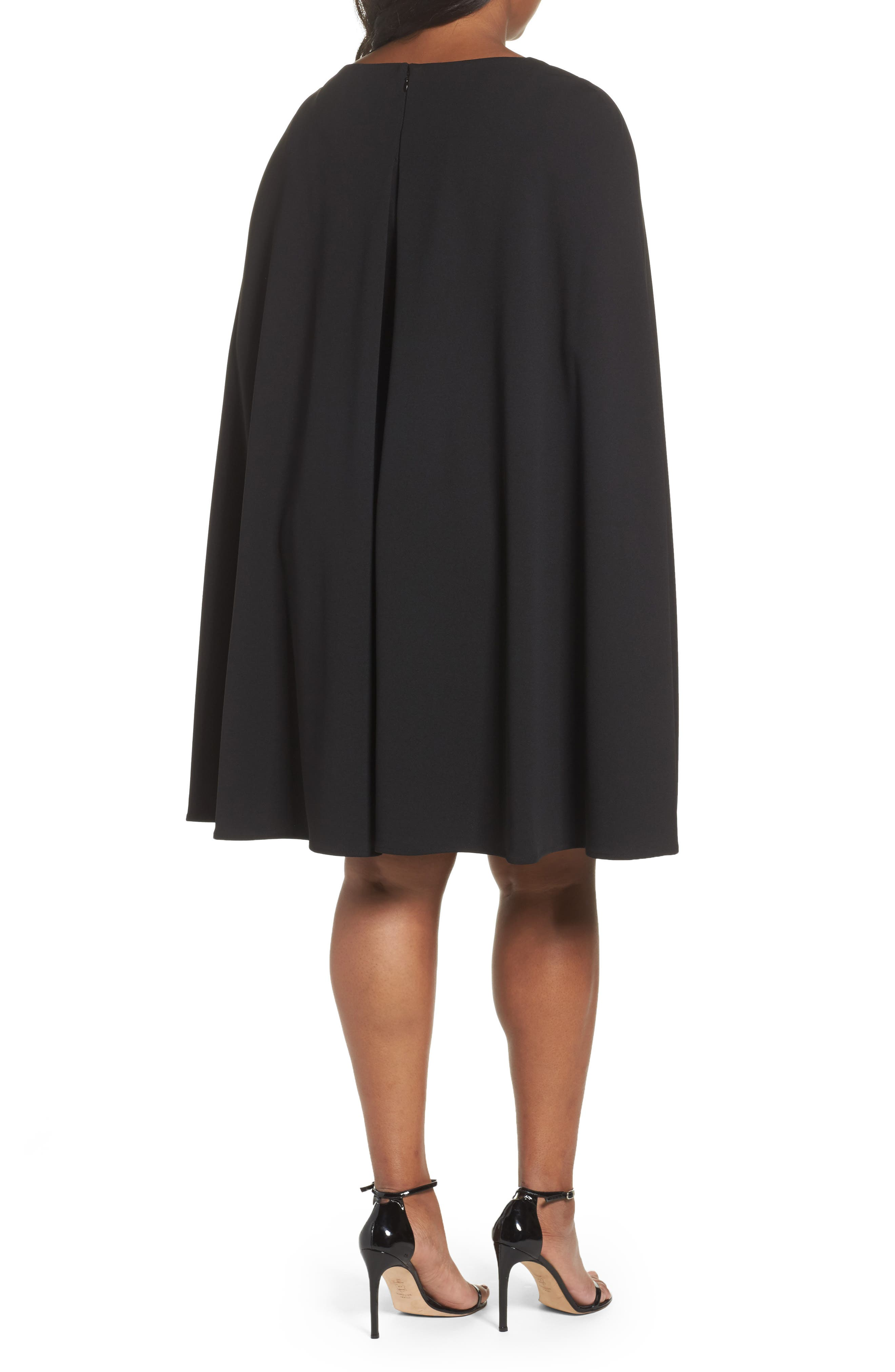 Cape Sheath Dress,                             Alternate thumbnail 2, color,                             Black