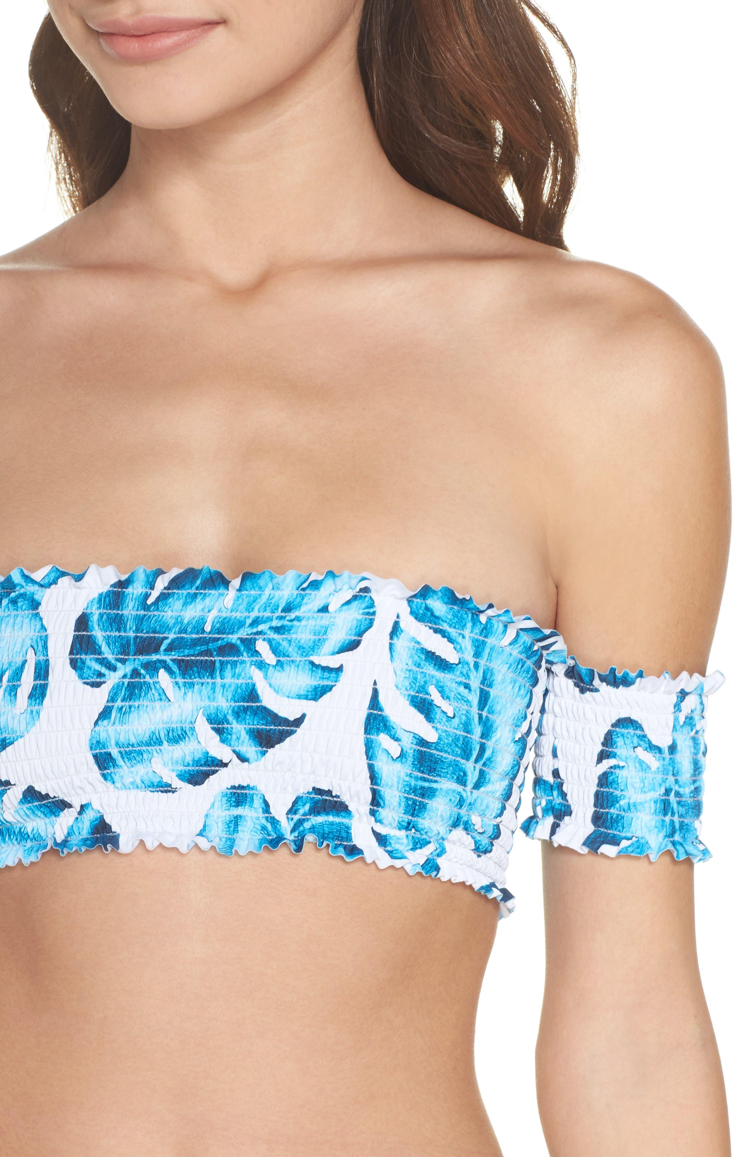 Alternate Image 4  - PilyQ Smocked Off the Shoulder Bikini Top