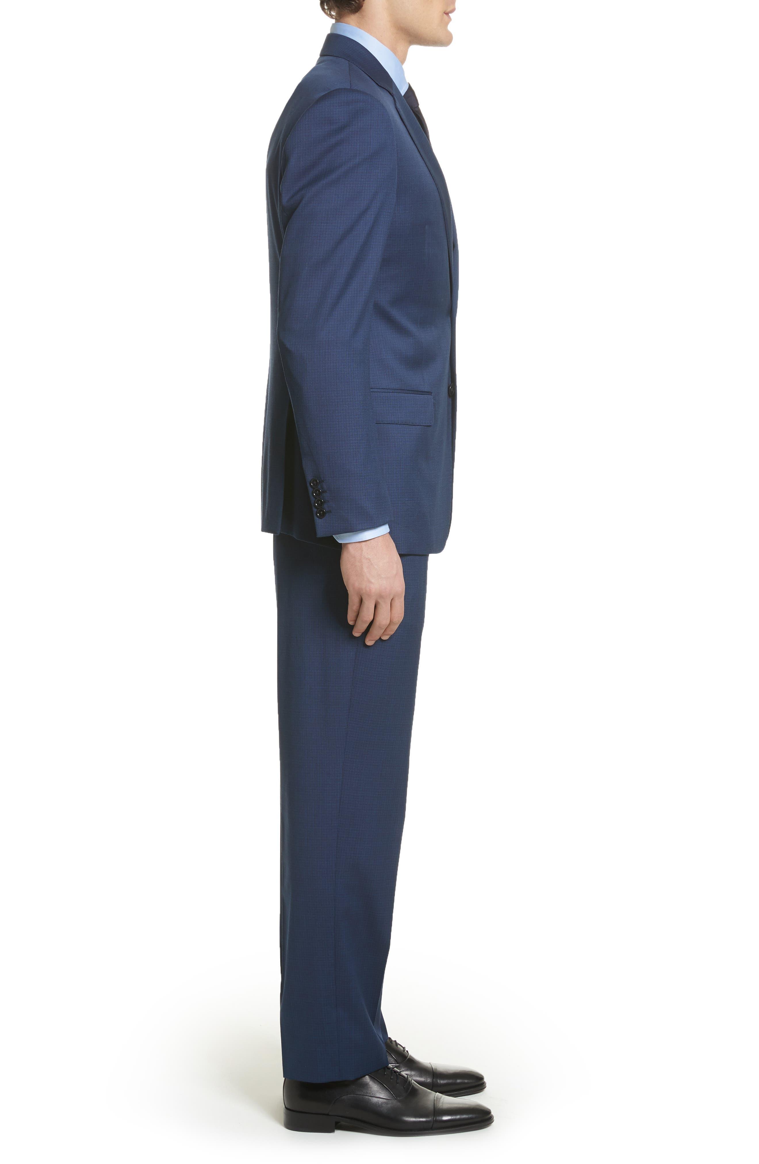 G Line Trim Fit Check Wool Suit,                             Alternate thumbnail 3, color,                             Navy