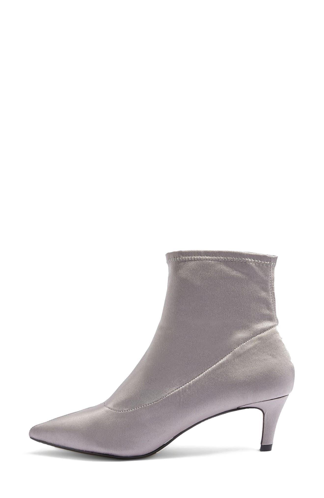 Bon Bon Satin Sock Bootie,                             Alternate thumbnail 2, color,                             Grey