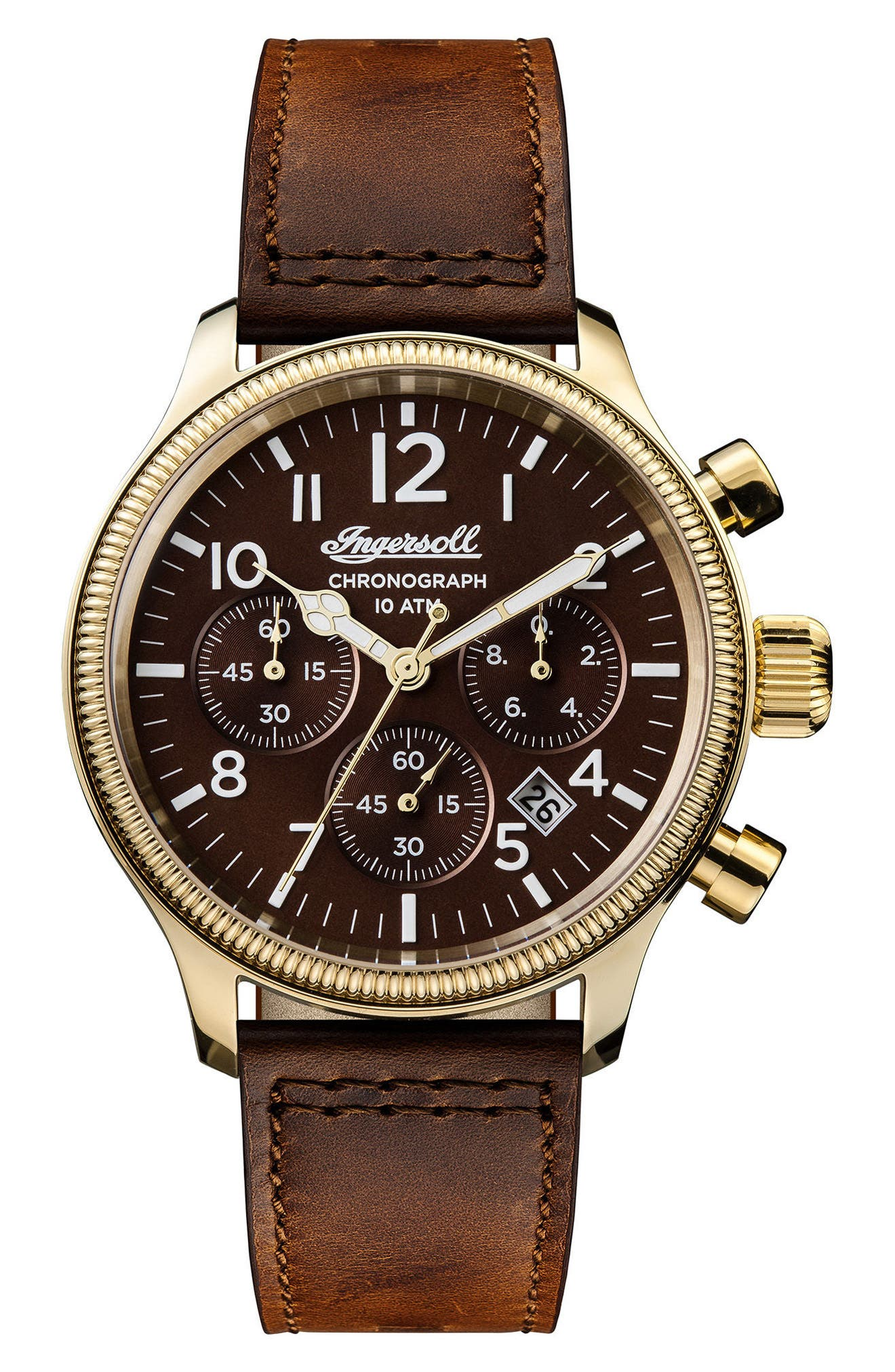 Ingersoll Apsley Chronograph Leather Strap Watch, 45mm,                         Main,                         color, Brown/ Gold
