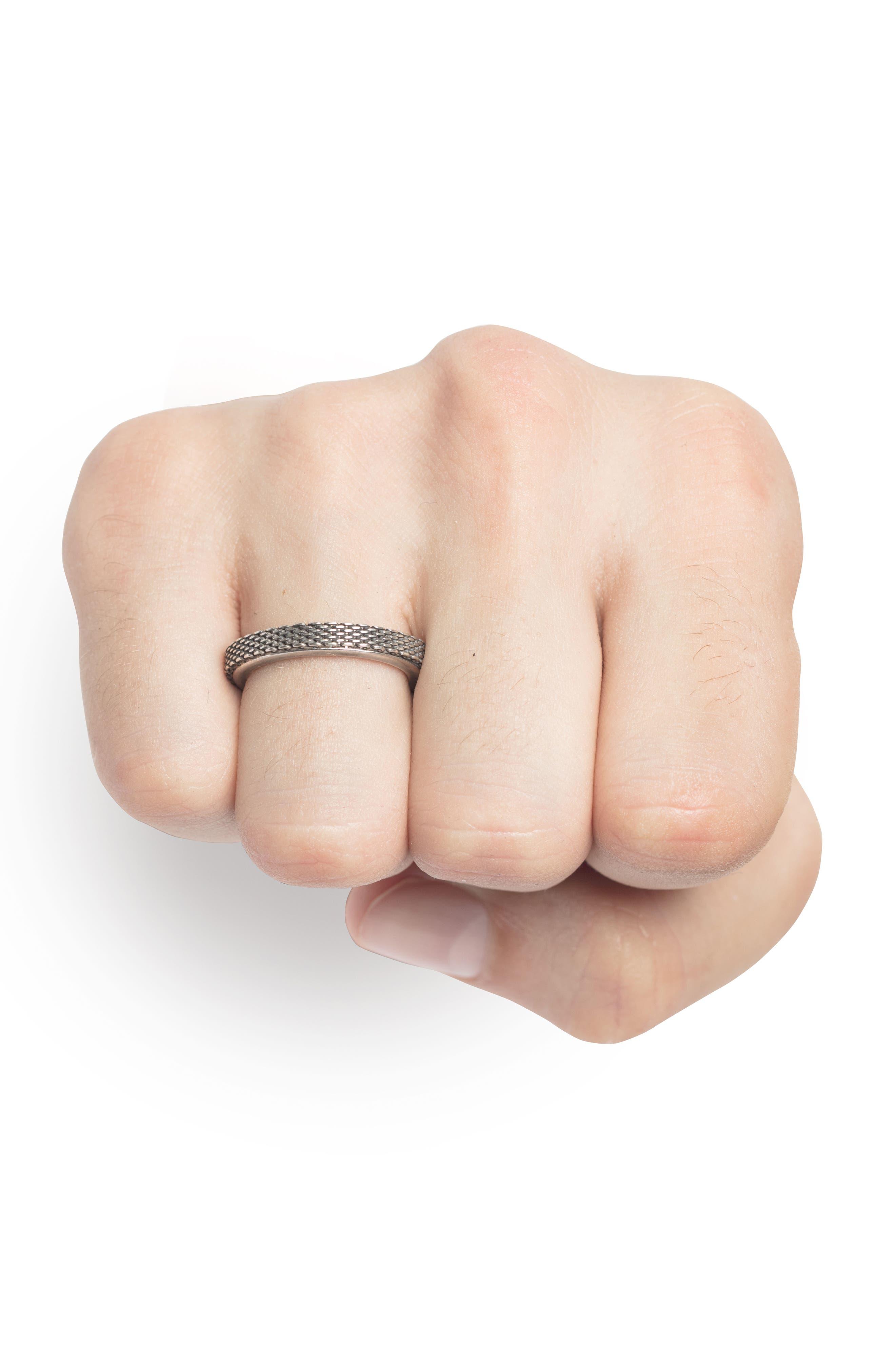 Adjustable Micro Mesh Ring,                             Alternate thumbnail 2, color,                             Silver
