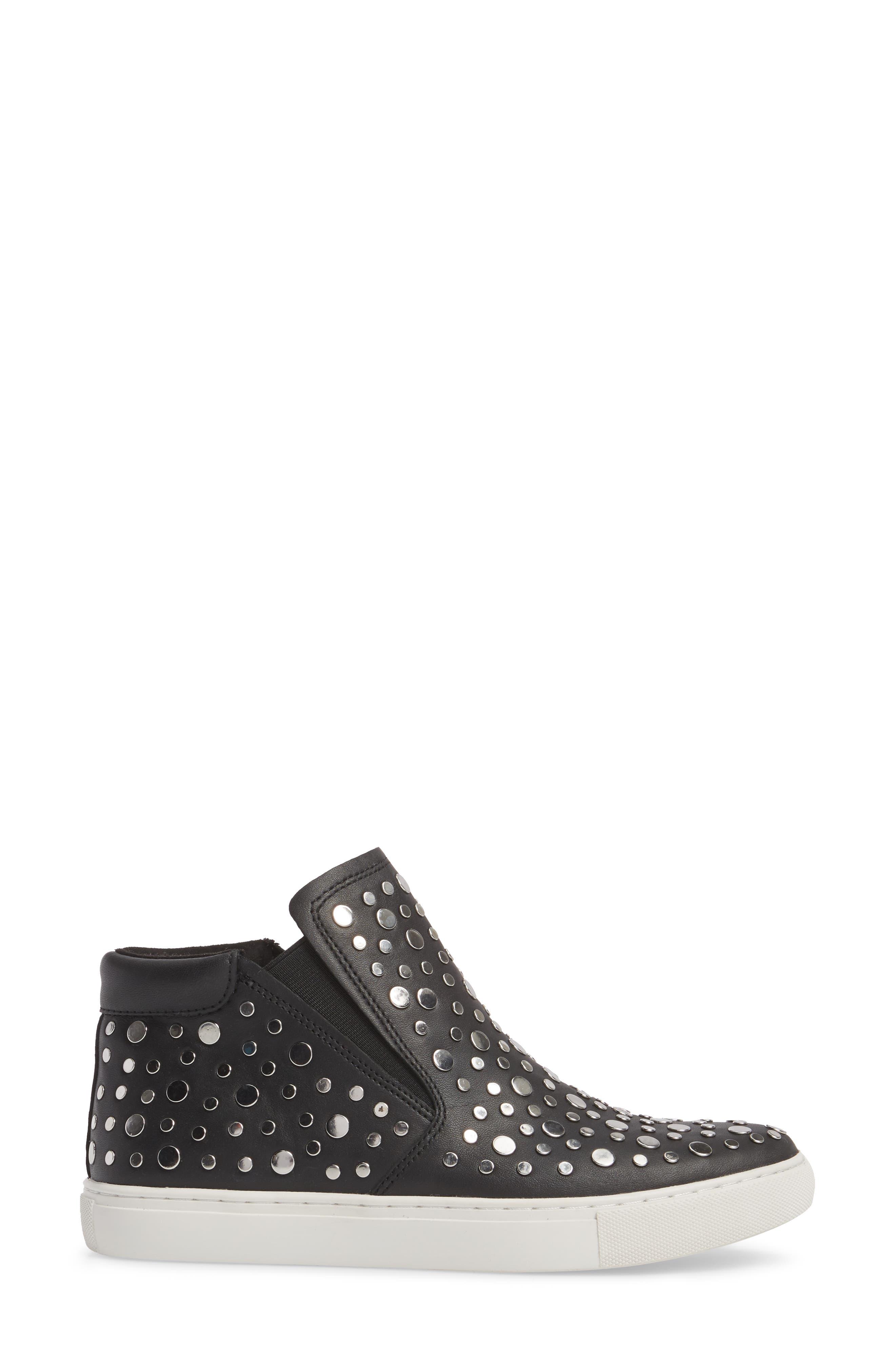 Kalvin Studded High Top Sneaker,                             Alternate thumbnail 3, color,                             Black Leather