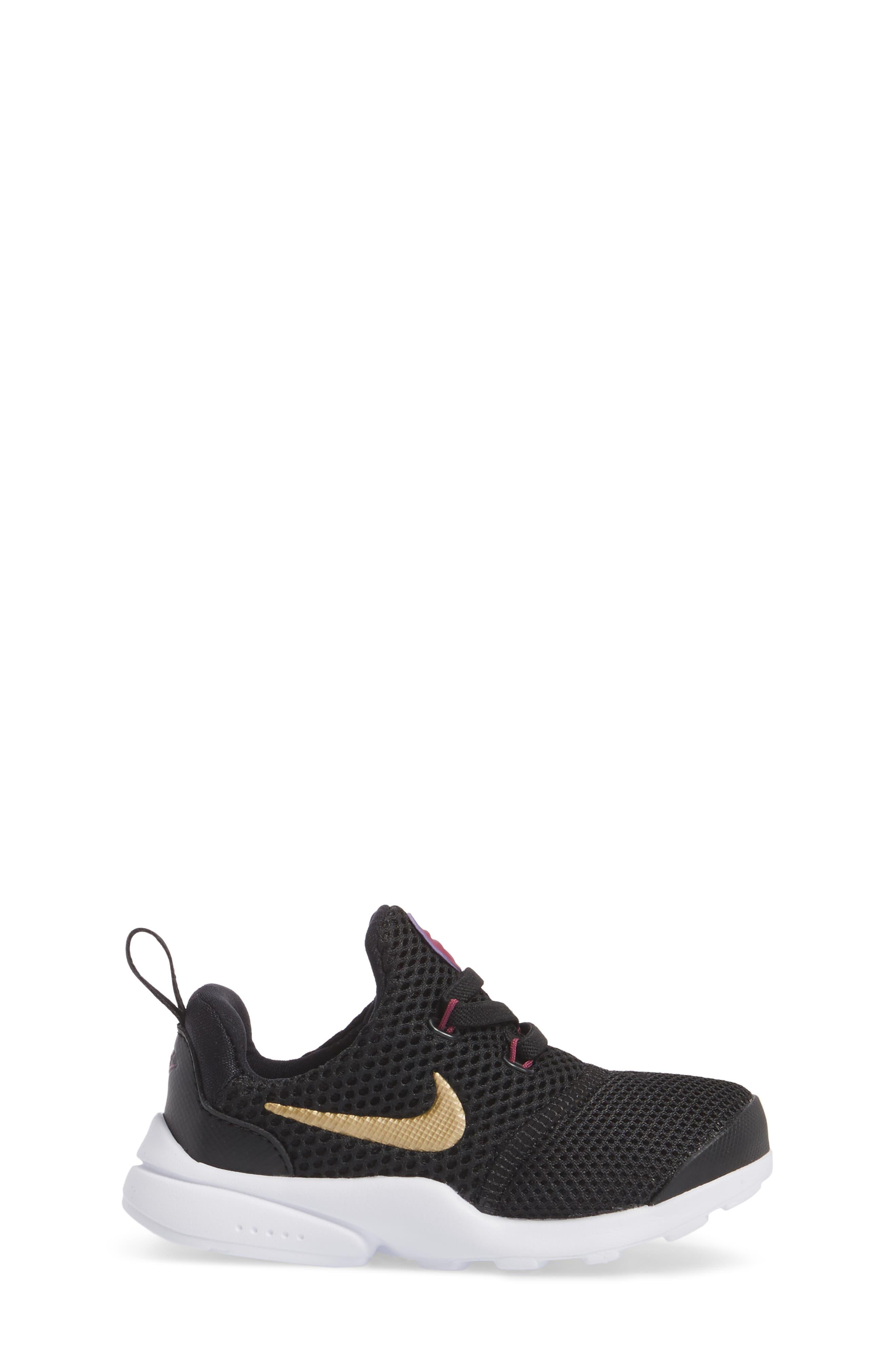 Presto Fly Sneaker,                             Alternate thumbnail 3, color,                             Black/ Gold