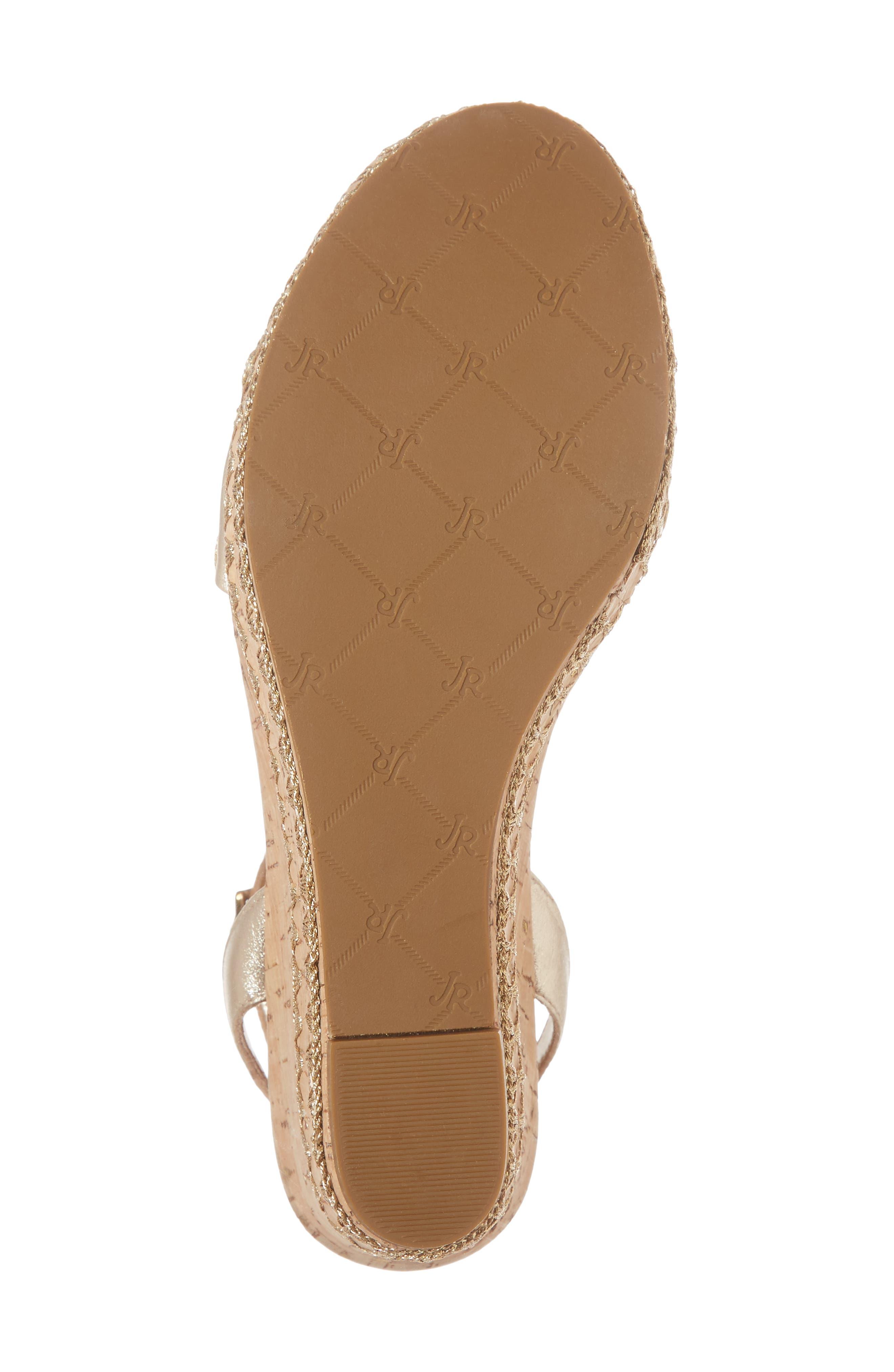 Lennon Platform Wedge Sandal,                             Alternate thumbnail 6, color,                             Platinum Leather