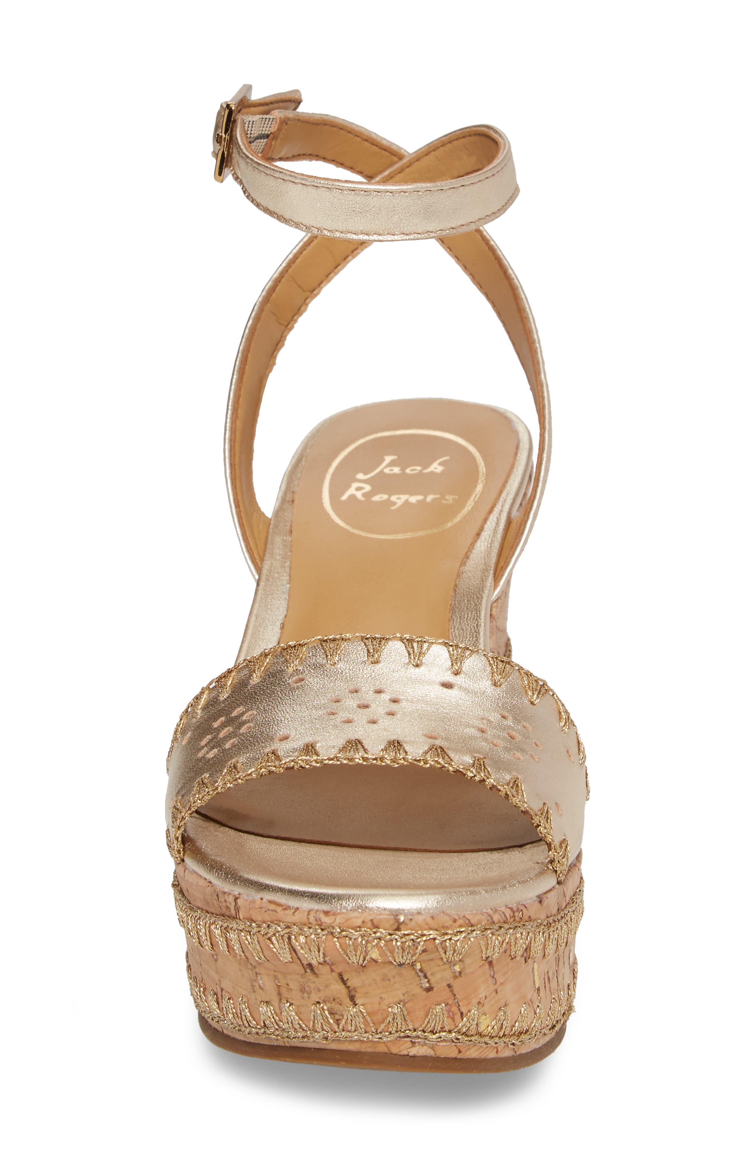 Lennon Platform Wedge Sandal,                             Alternate thumbnail 4, color,                             Platinum Leather