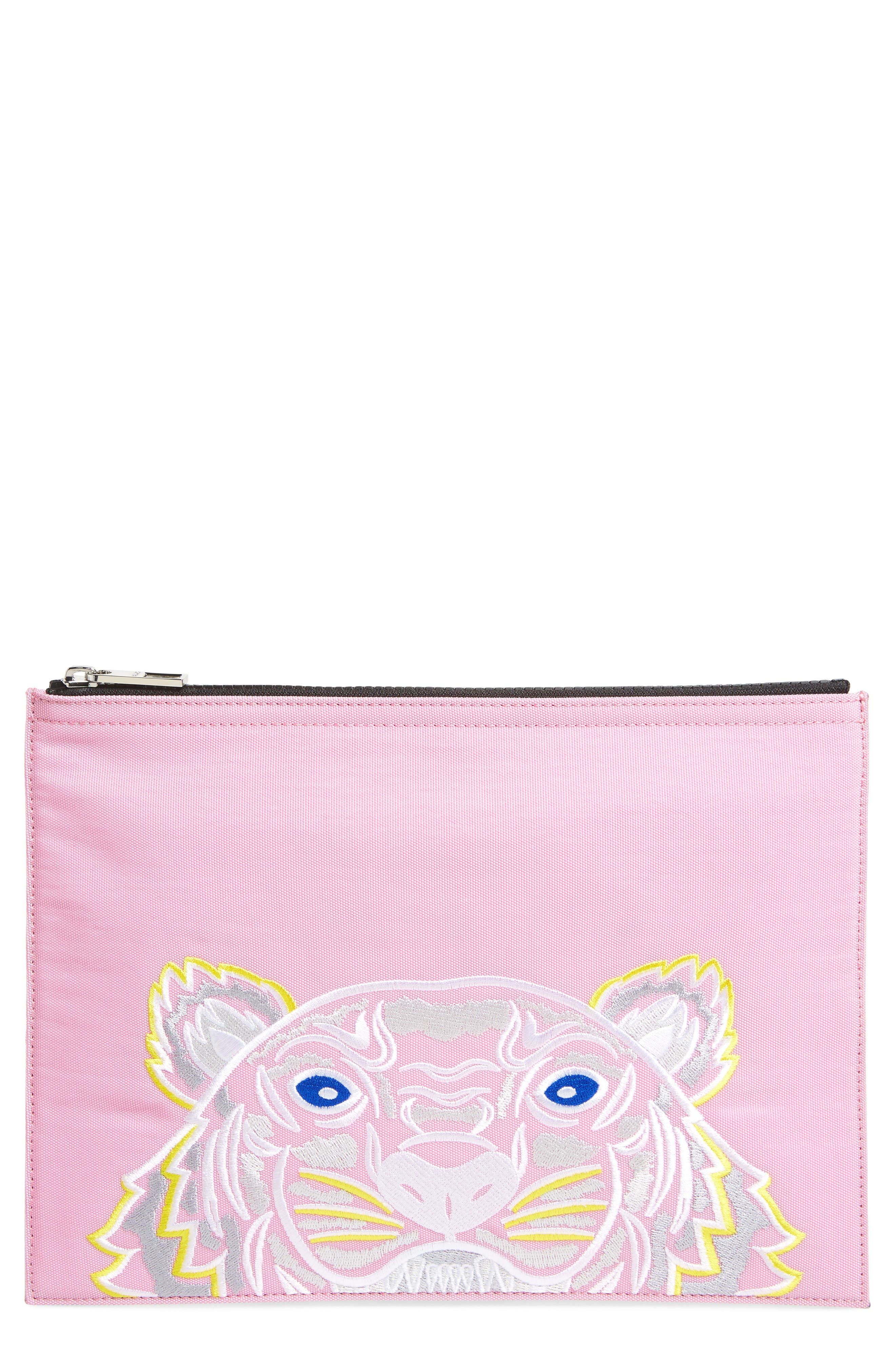 Kanvas Tiger Embroidered A4 Pouch,                         Main,                         color, Flamingo Pink