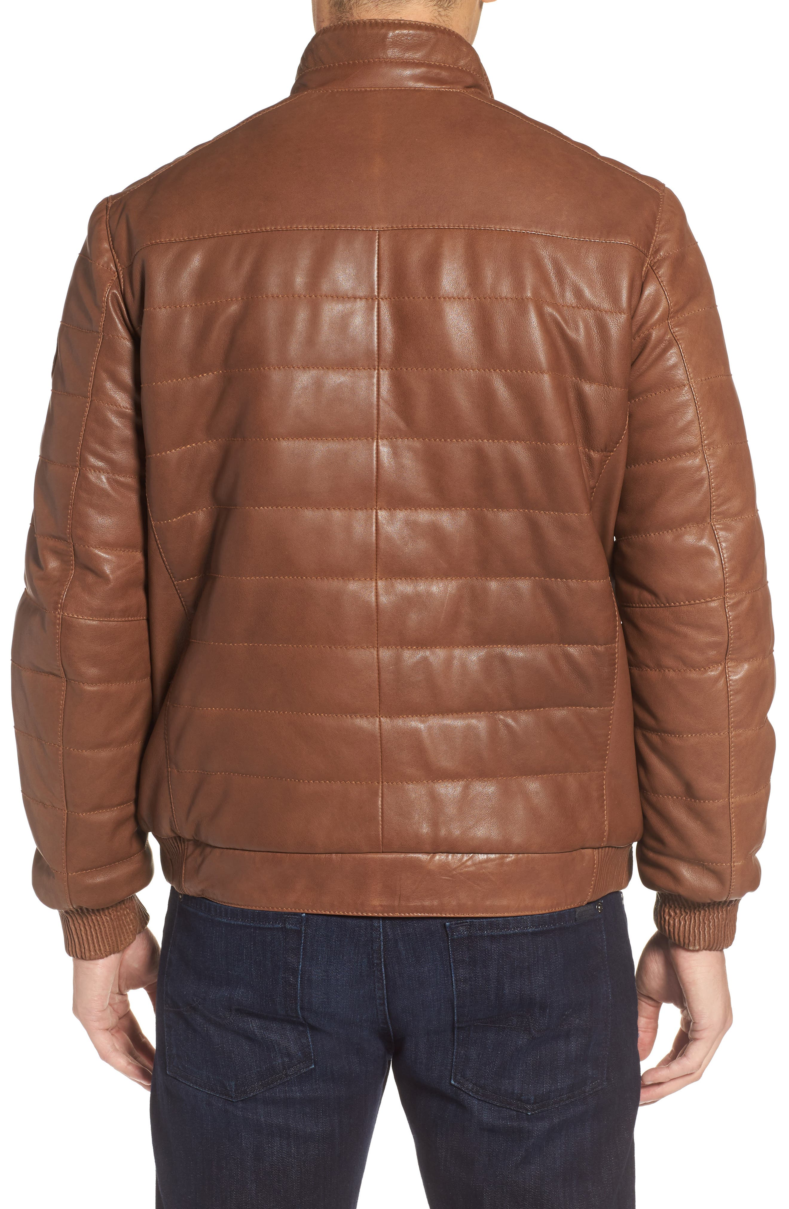 Snowside Leather Bomber Jacket,                             Alternate thumbnail 2, color,                             Brown Enough