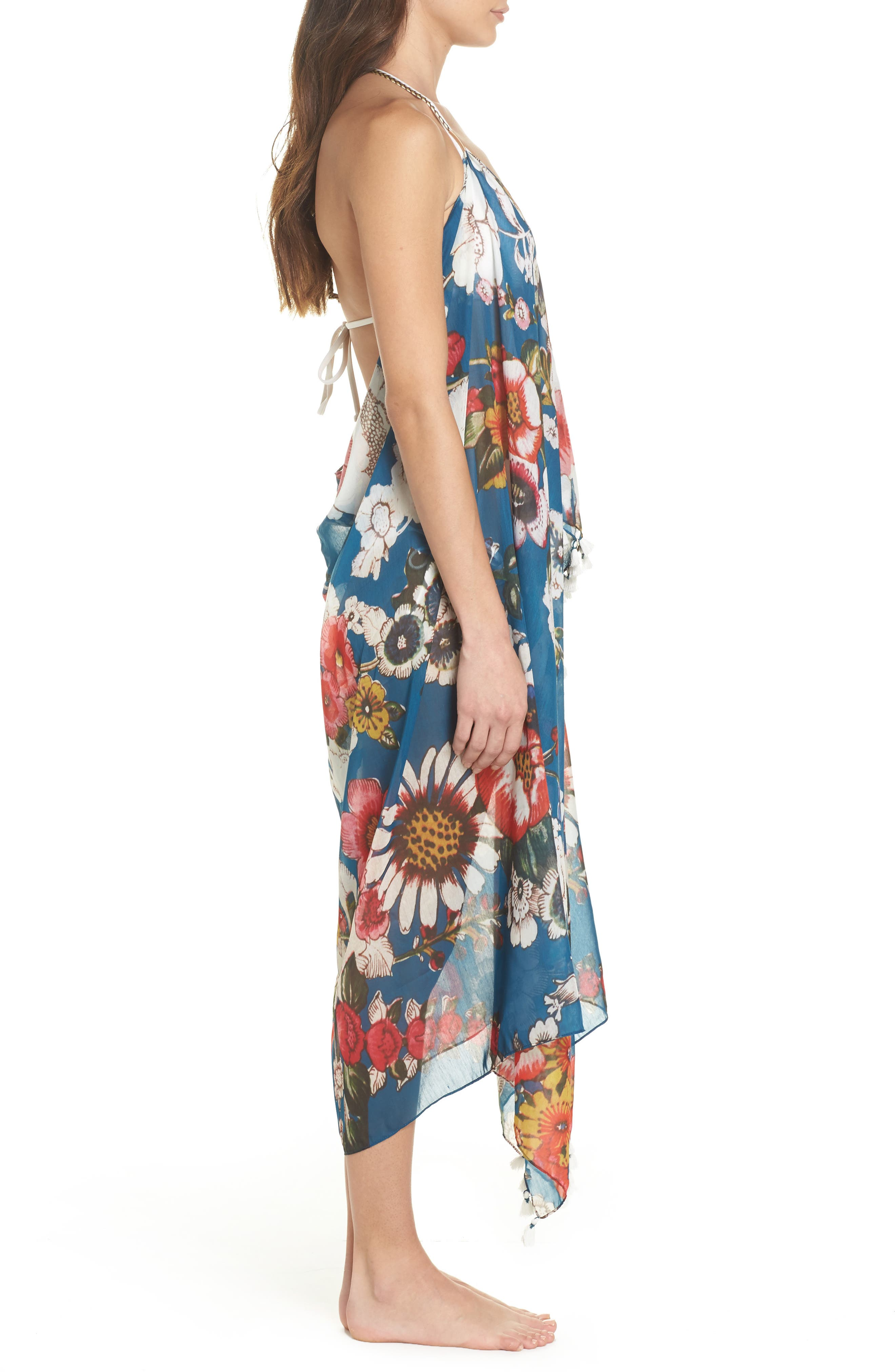 Beach to Street Cover-Up Maxi Dress,                             Alternate thumbnail 3, color,                             Teal Multi
