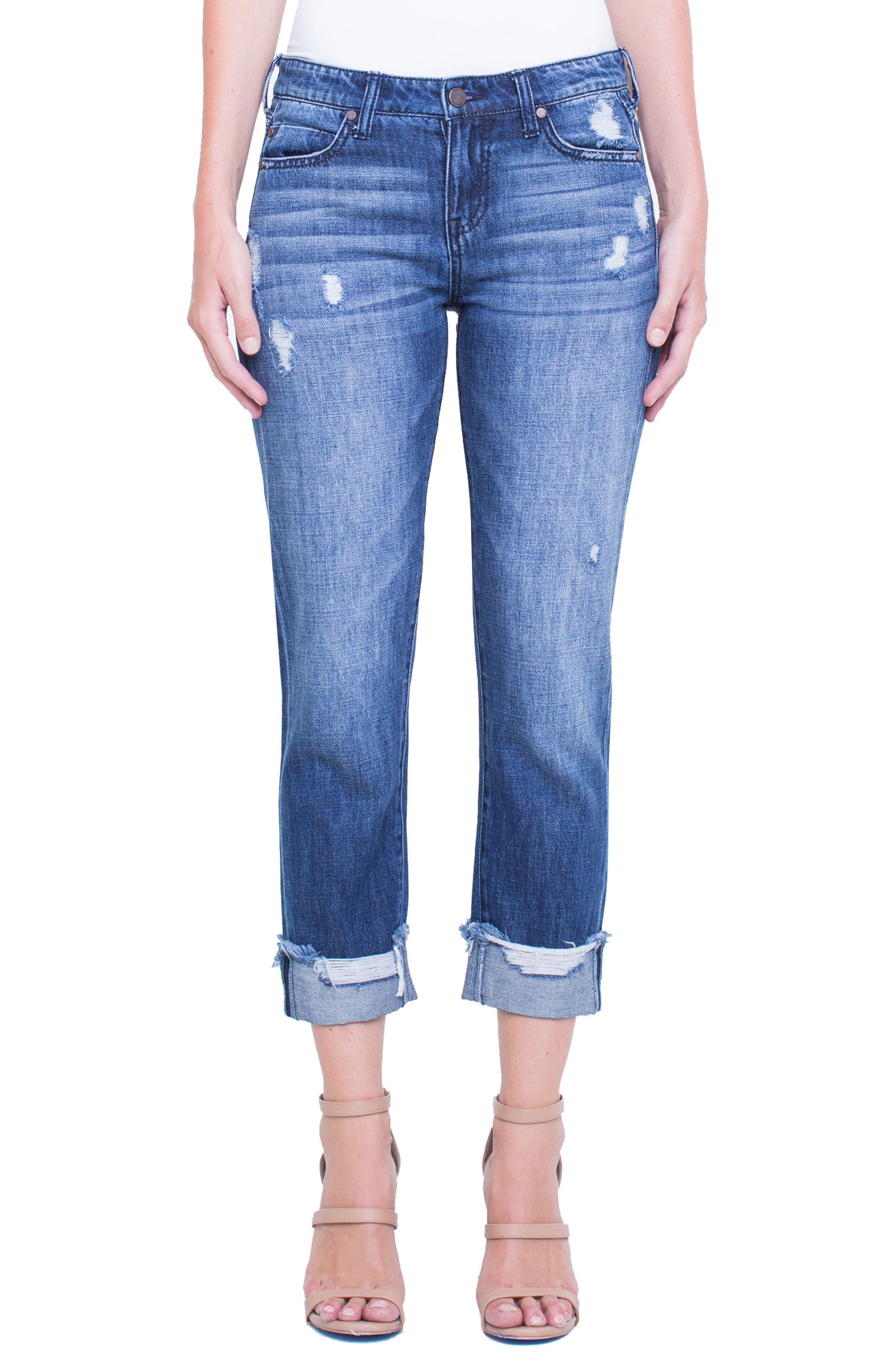 Kennedy Distressed Raw Hem Crop Boyfriend Jeans,                         Main,                         color, Destruct