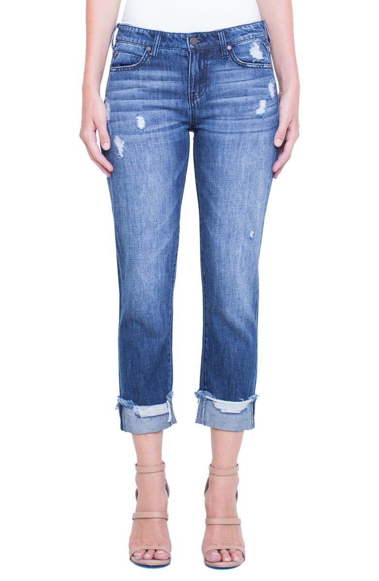Kennedy Distressed Raw Hem Crop Boyfriend Jeans