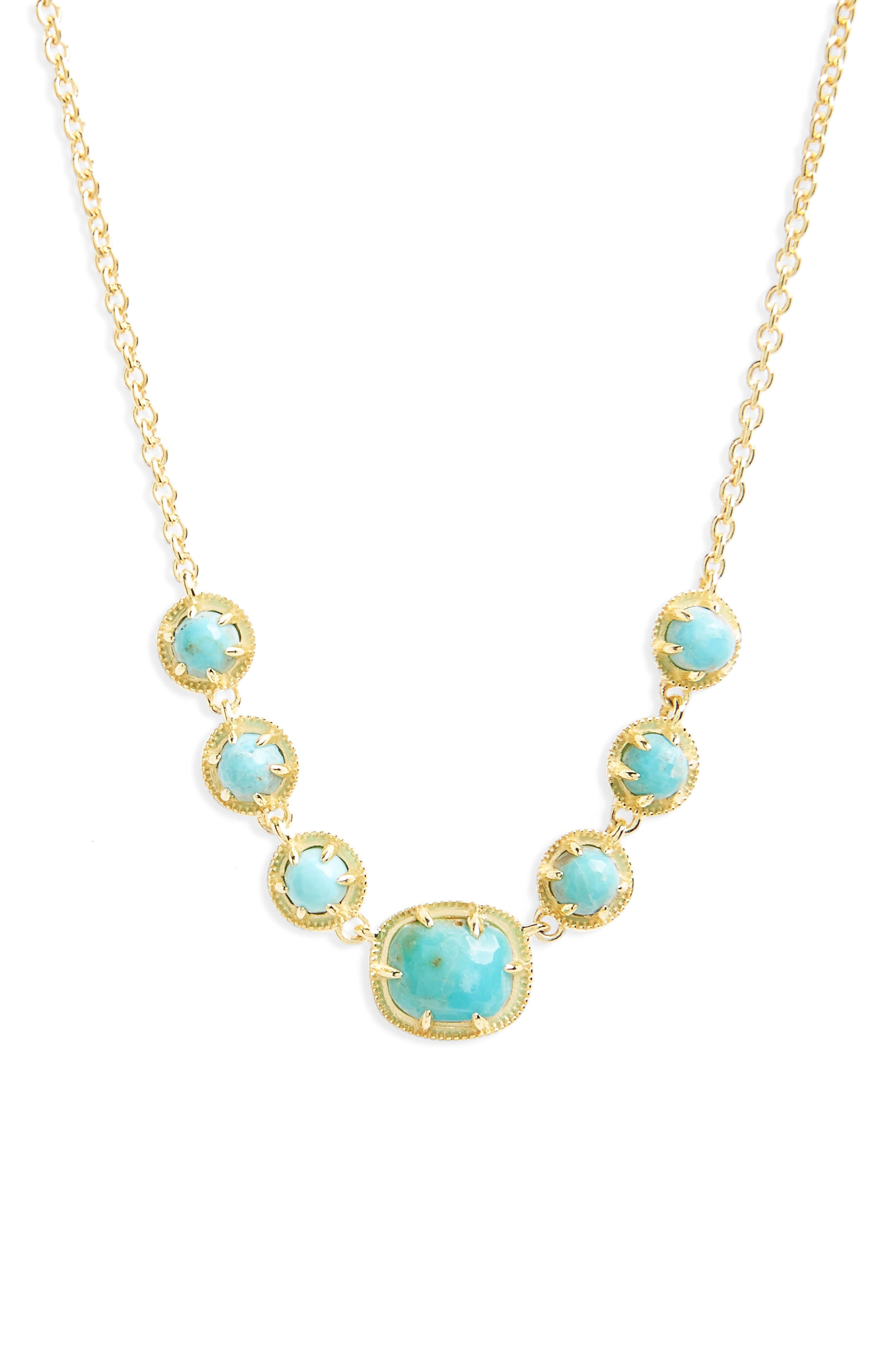 Semiprecious Stone Collar Necklace,                         Main,                         color, Turquoise/ Gold